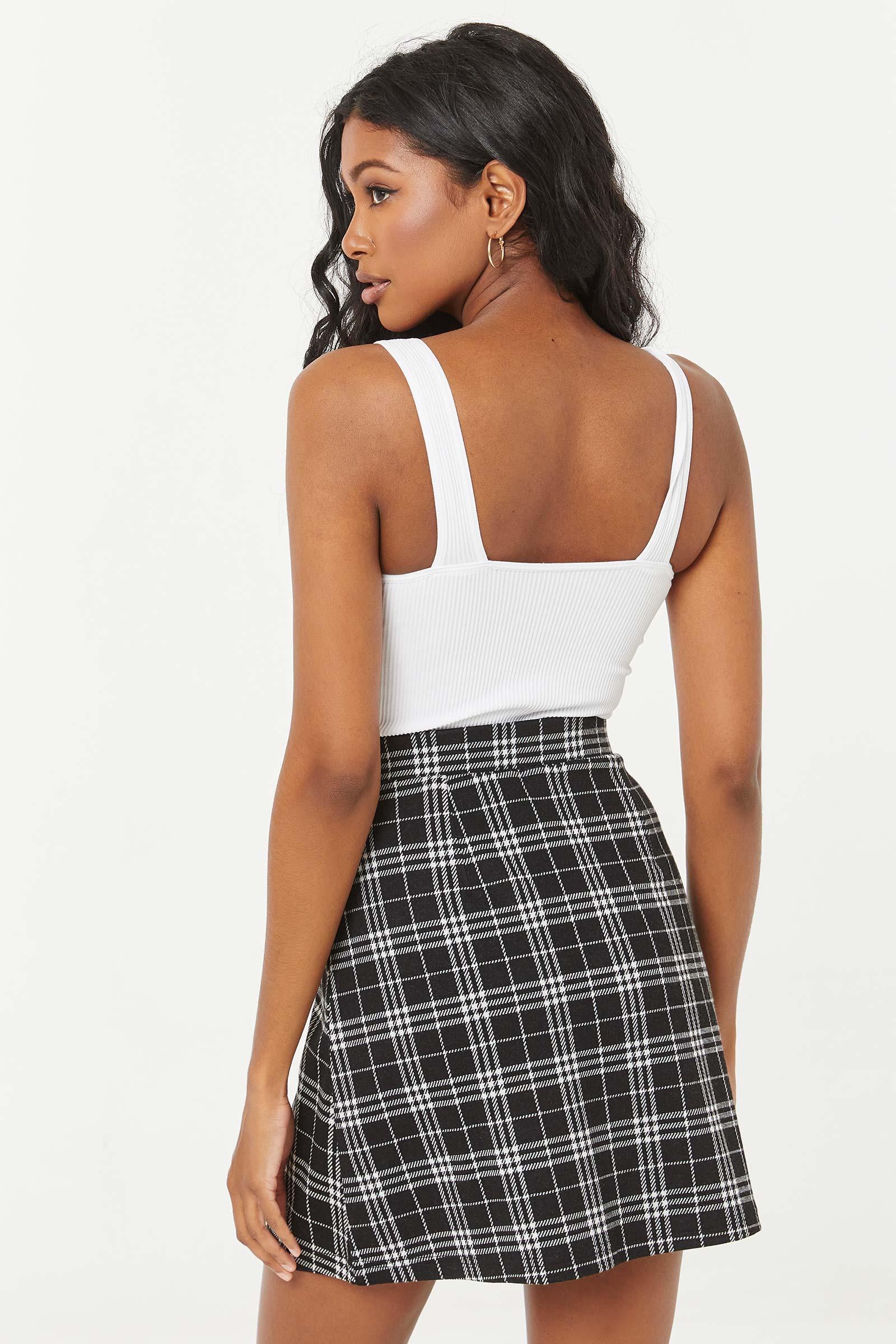 Mini Button Front Plaid Skirt