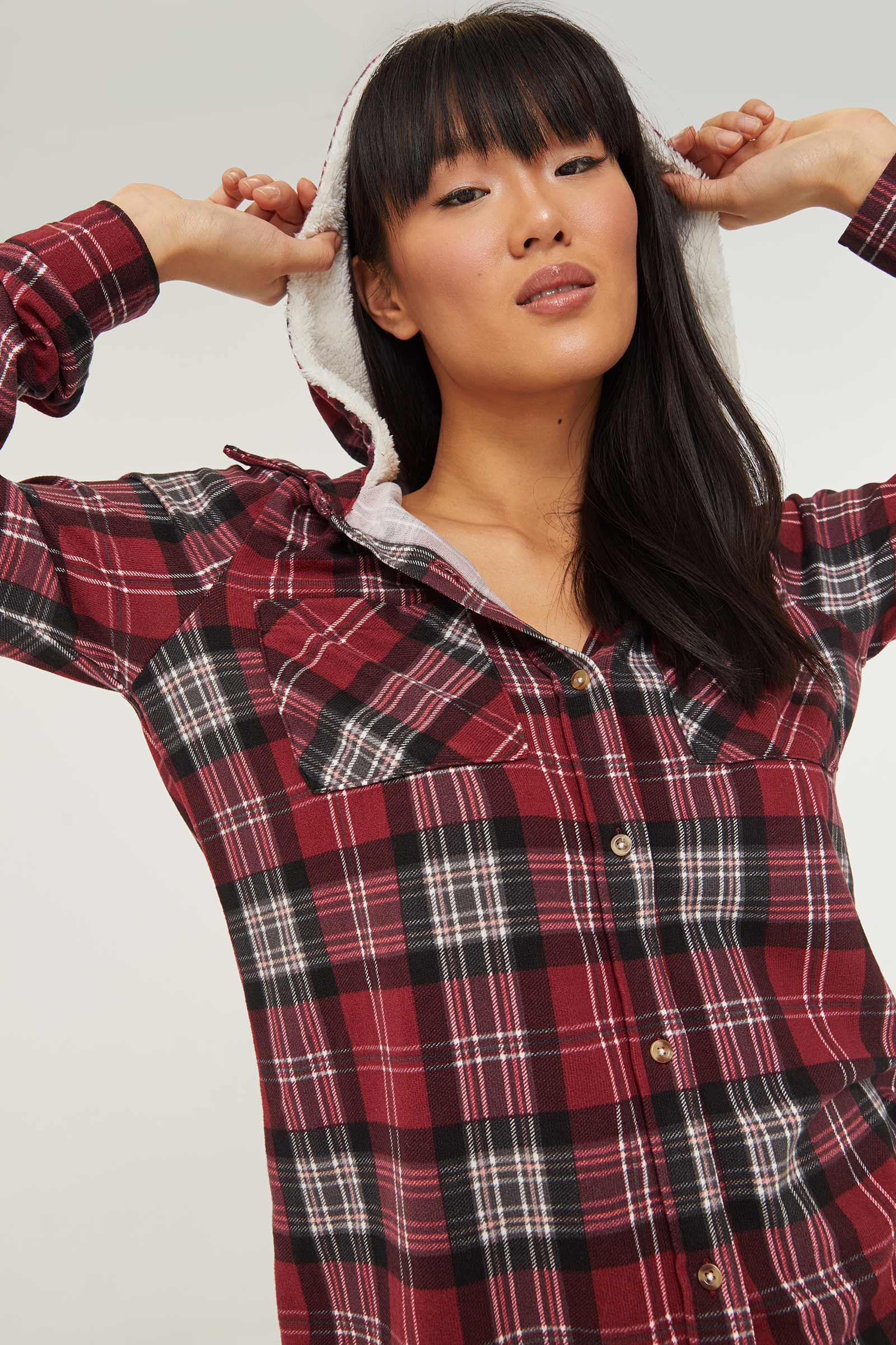 Plaid Shirt with Faux Sherpa Hood