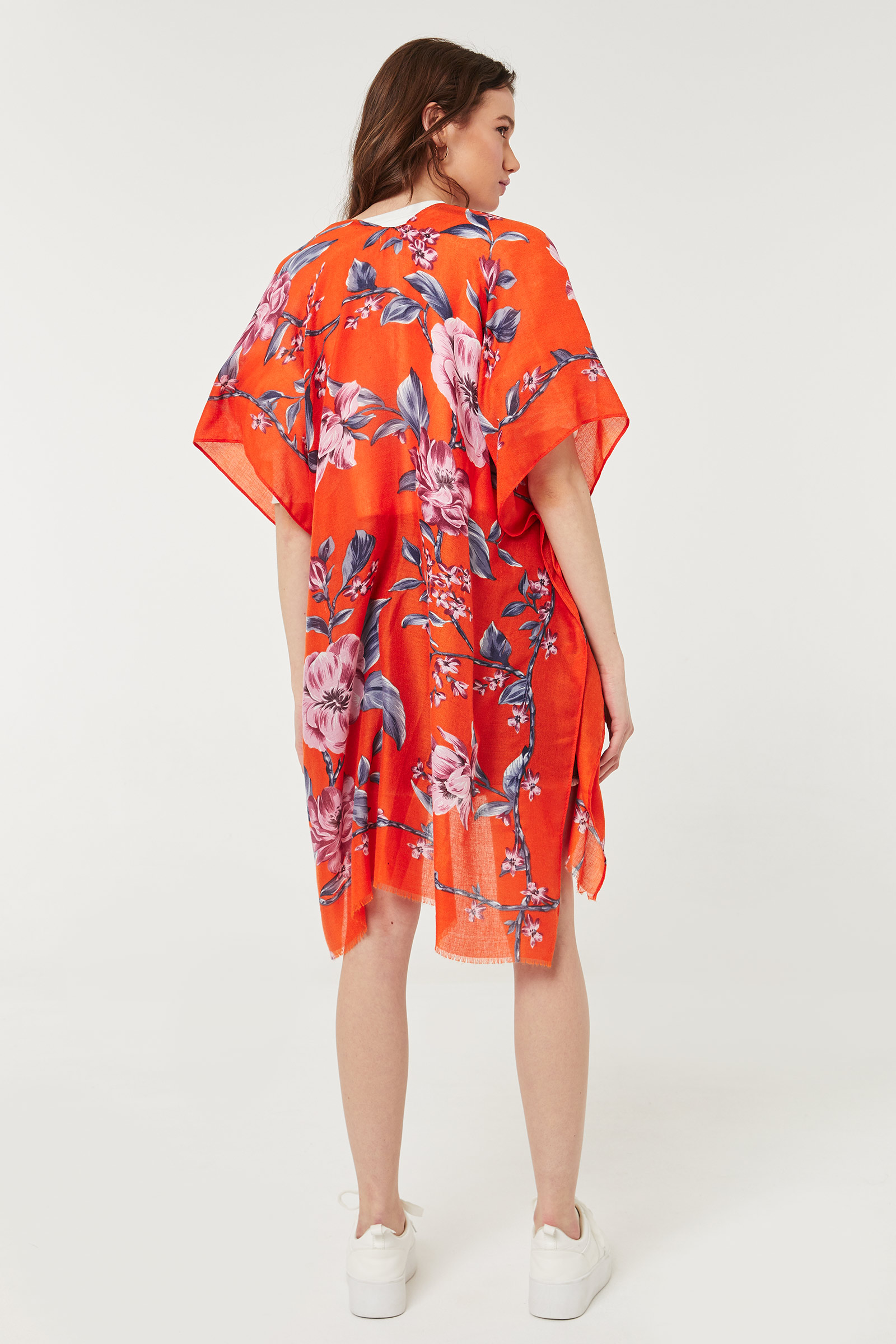 Light Open Floral Poncho