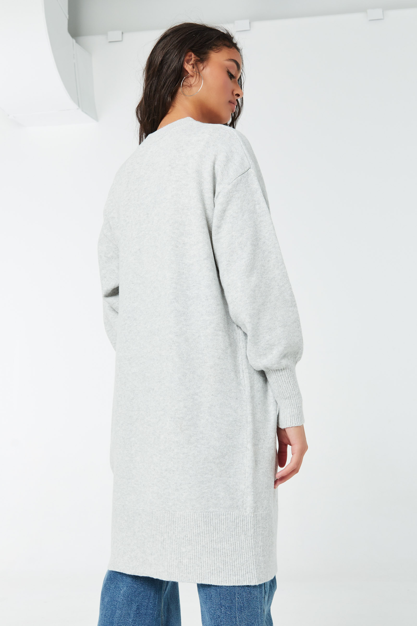 Tunic Cardigan with Bubble Sleeves