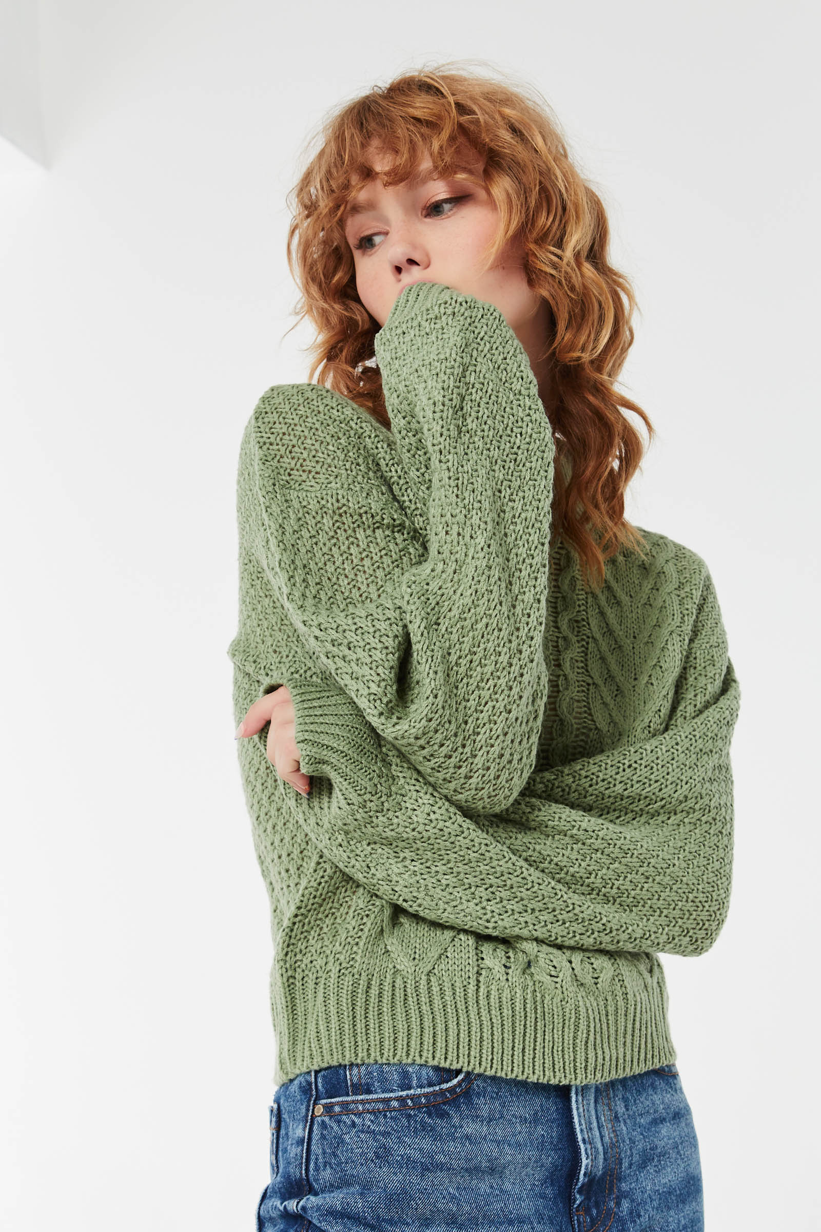 Cable Knit Sweater with Bubble Sleeves