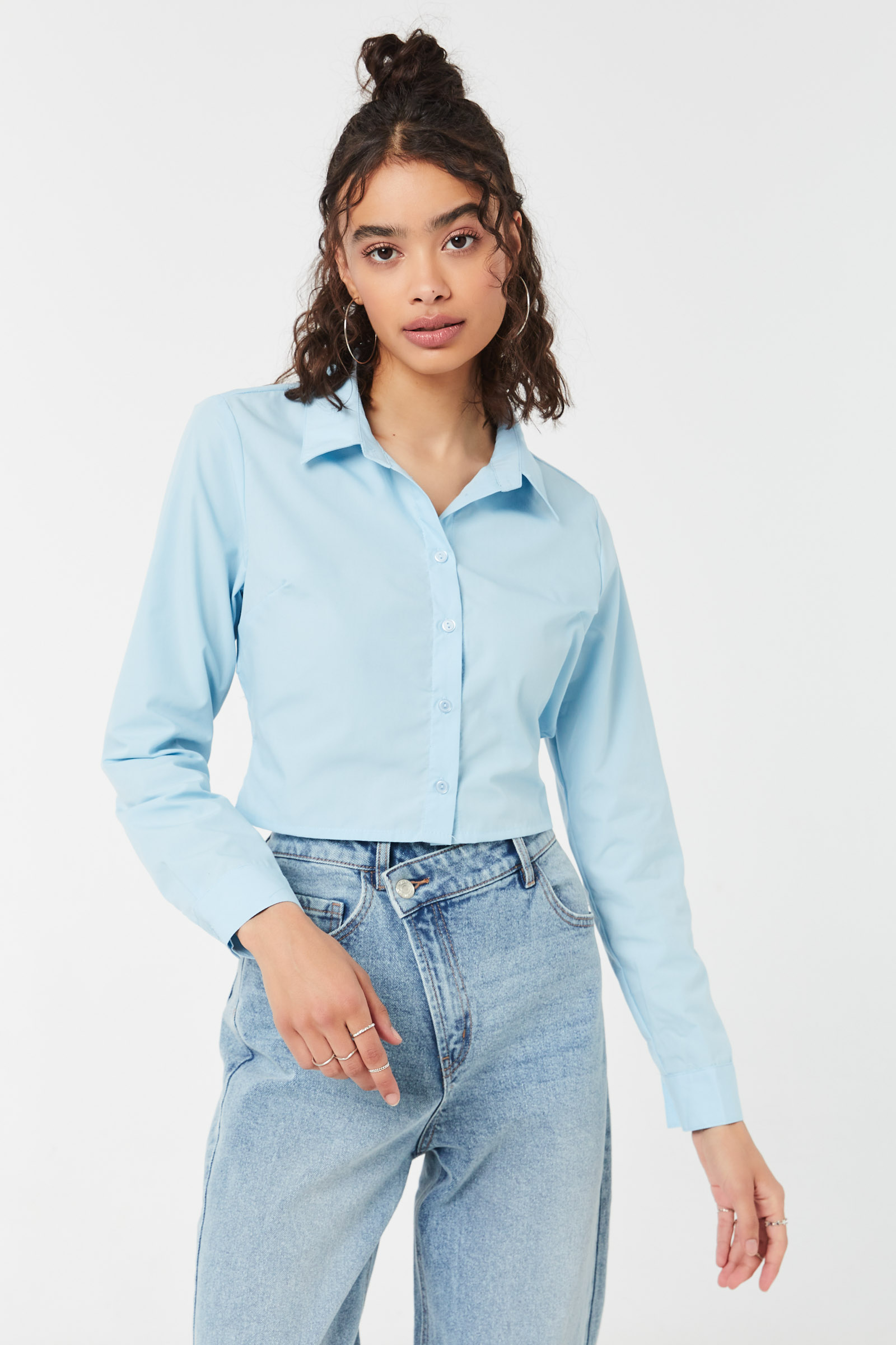 Poplin Button-Up Shirt with Tie Back