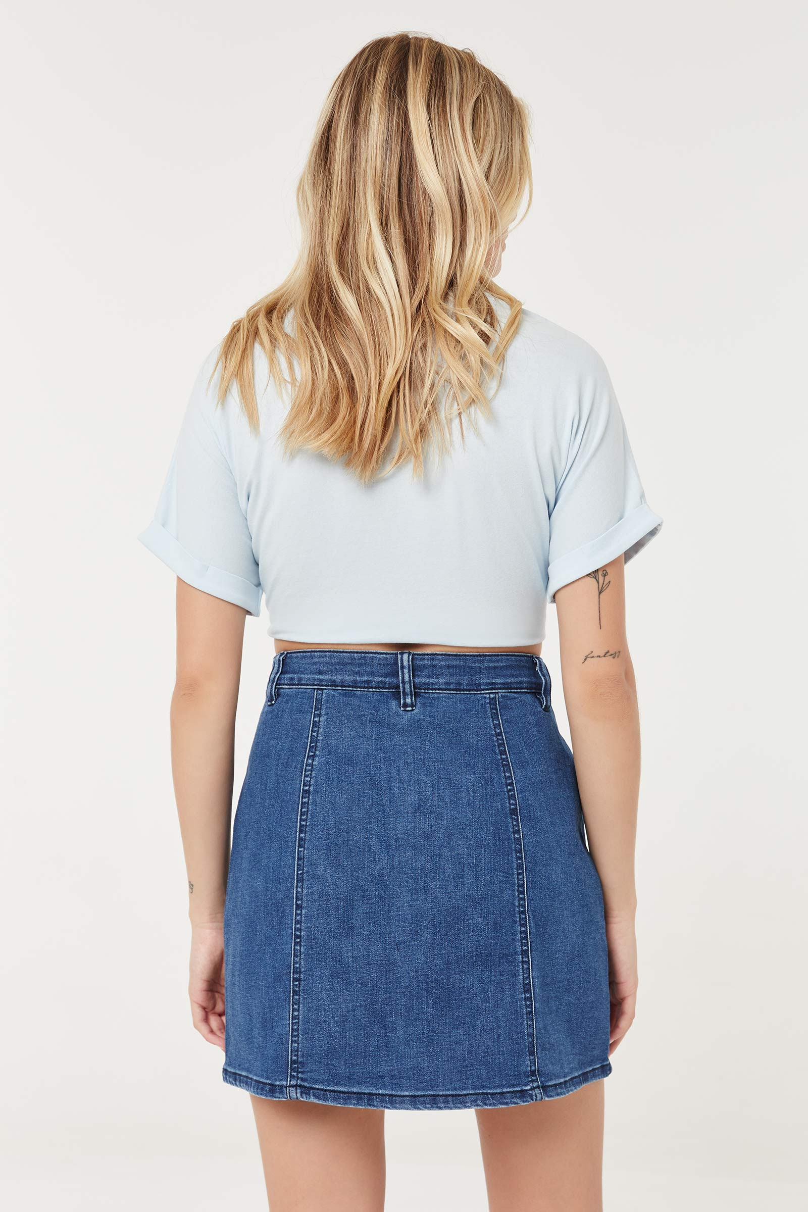 Jean Buttoned Mini Skirt
