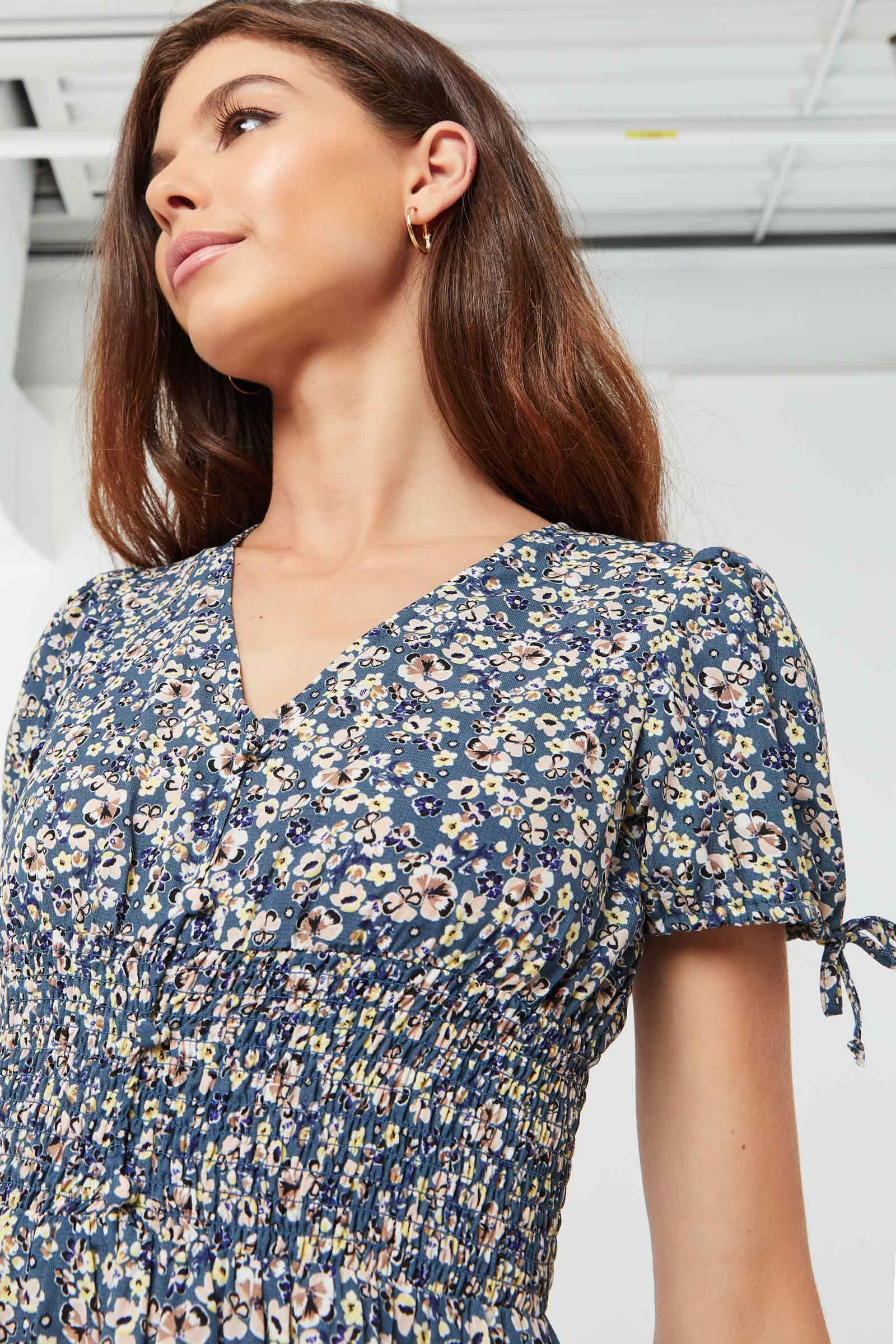Ditsy Floral Flutter-Sleeved Mini Dress