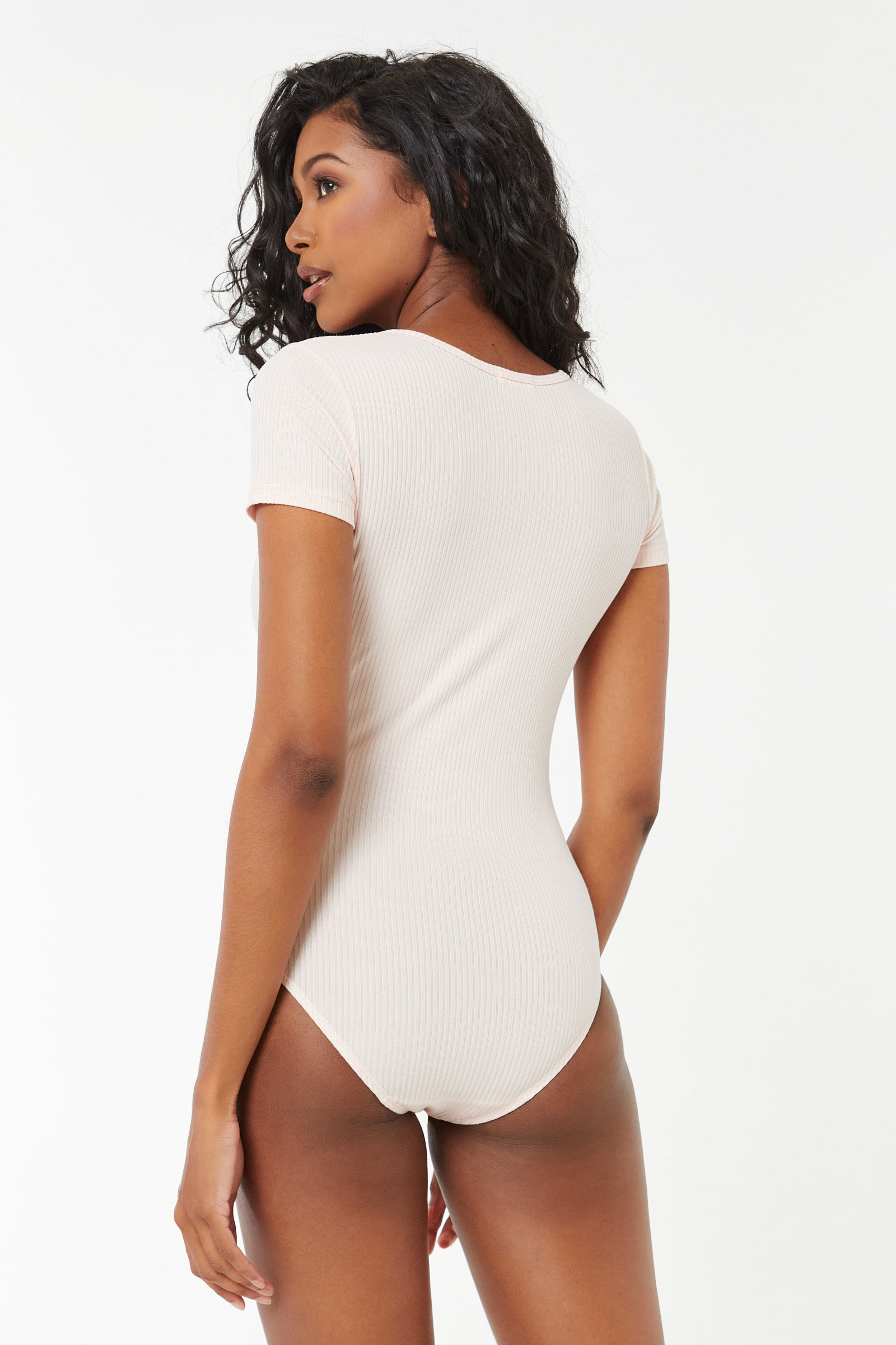 Notched Collar Ribbed Bodysuit
