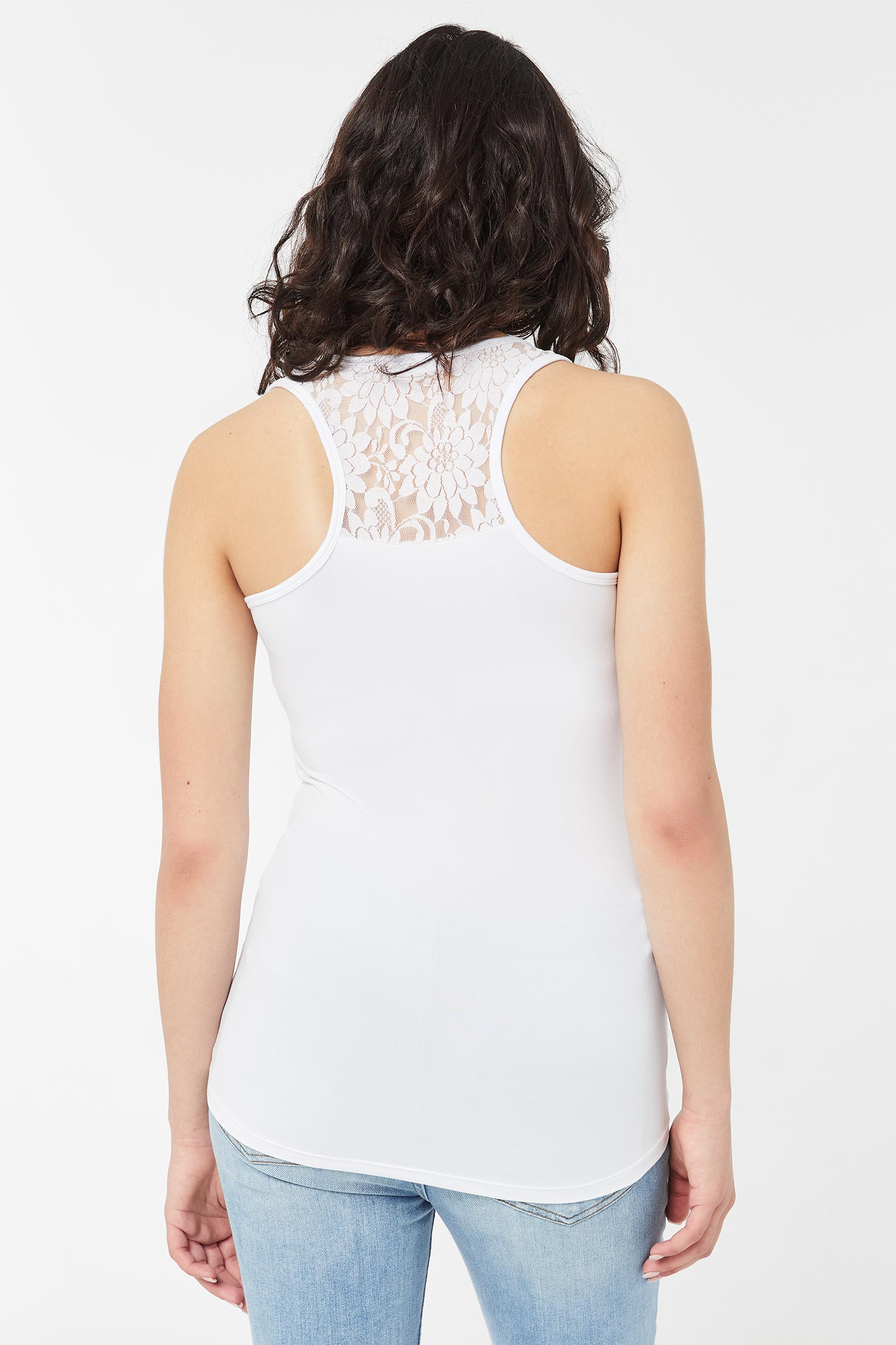 Long Lace Tank Top with Racerback