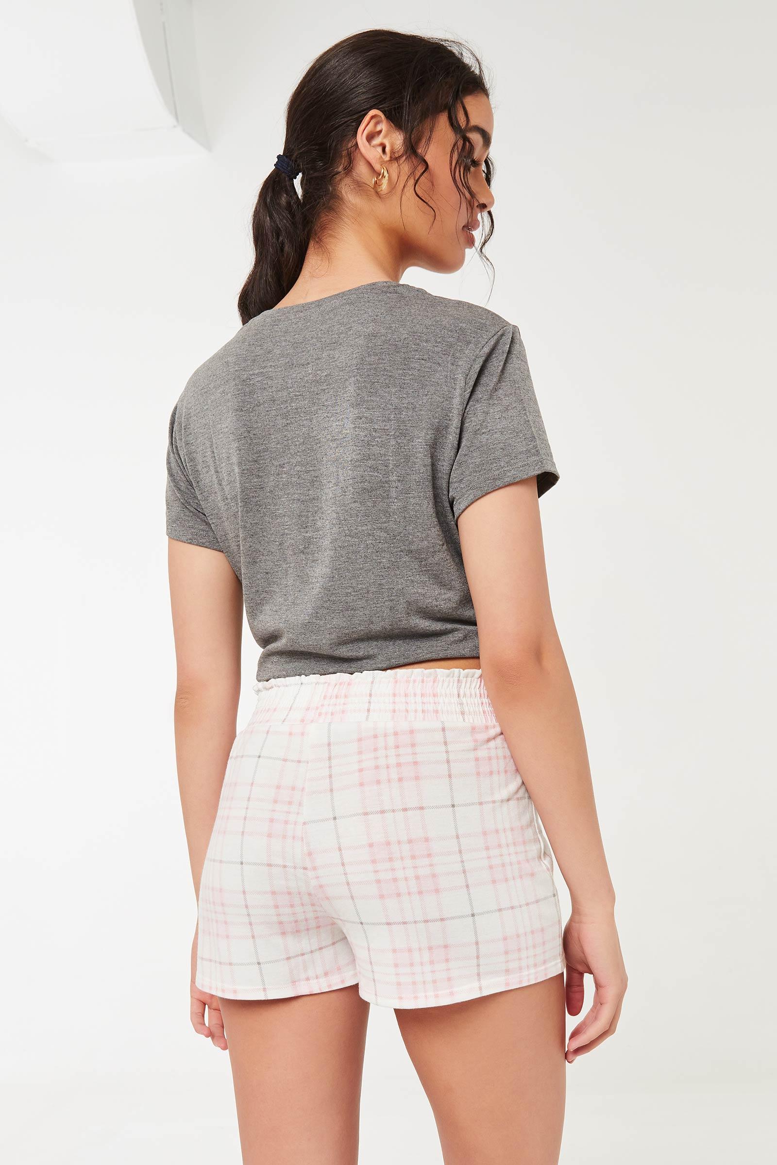 Plaid Smocked Lounge Shorts