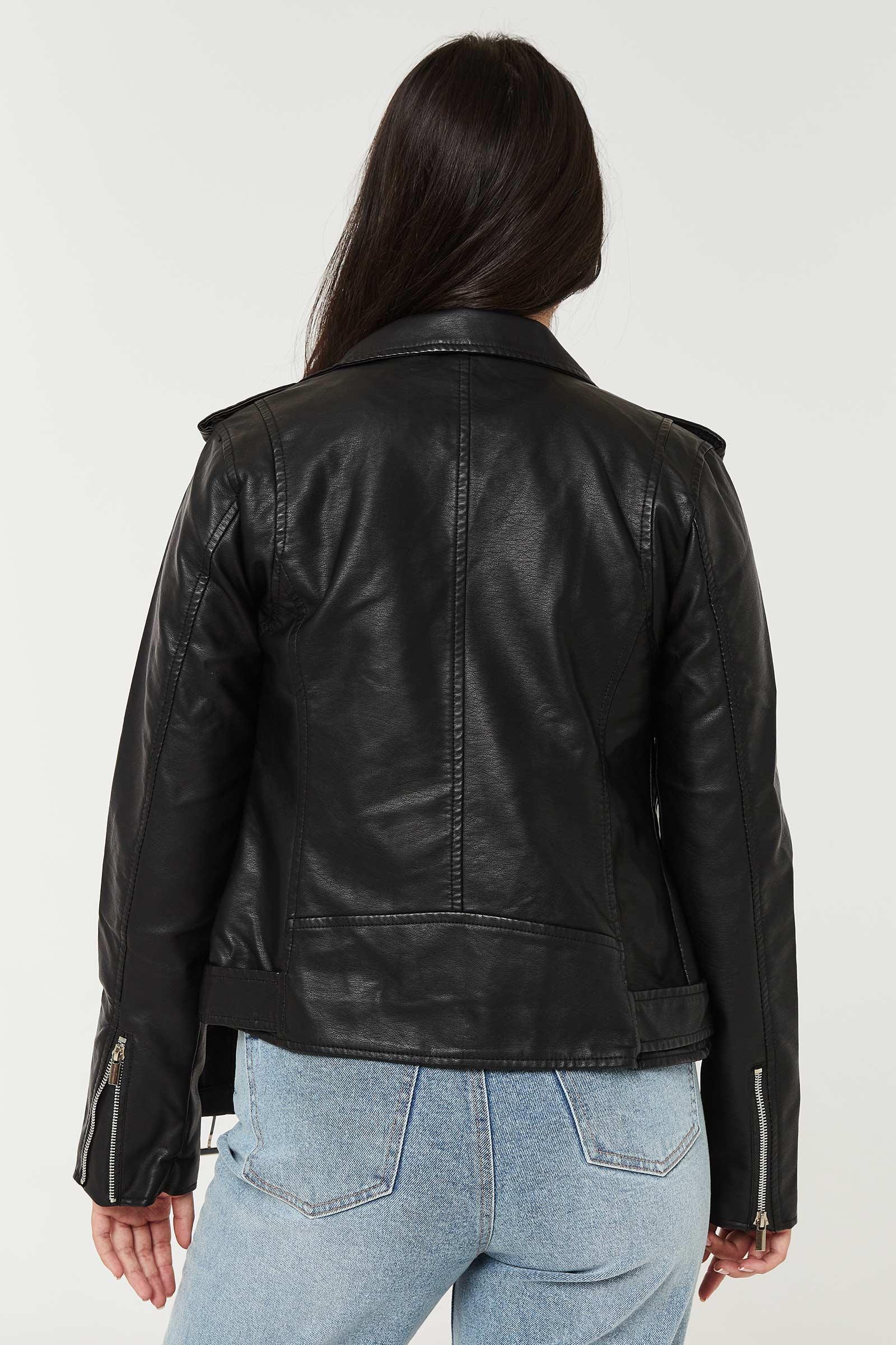 Faux leather Belted Biker Jacket