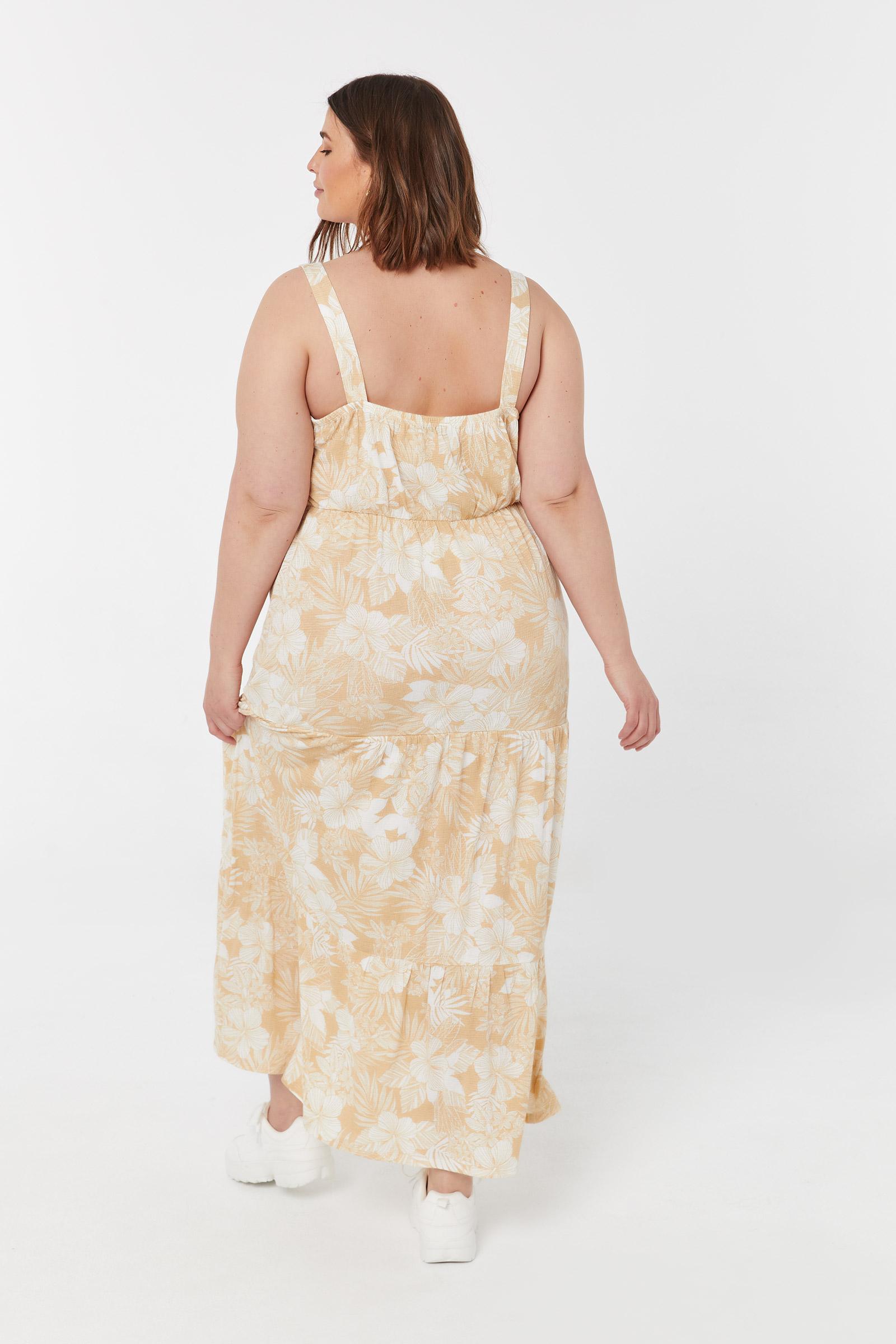 Plus Size Maxi Tiered Crêpe Dress