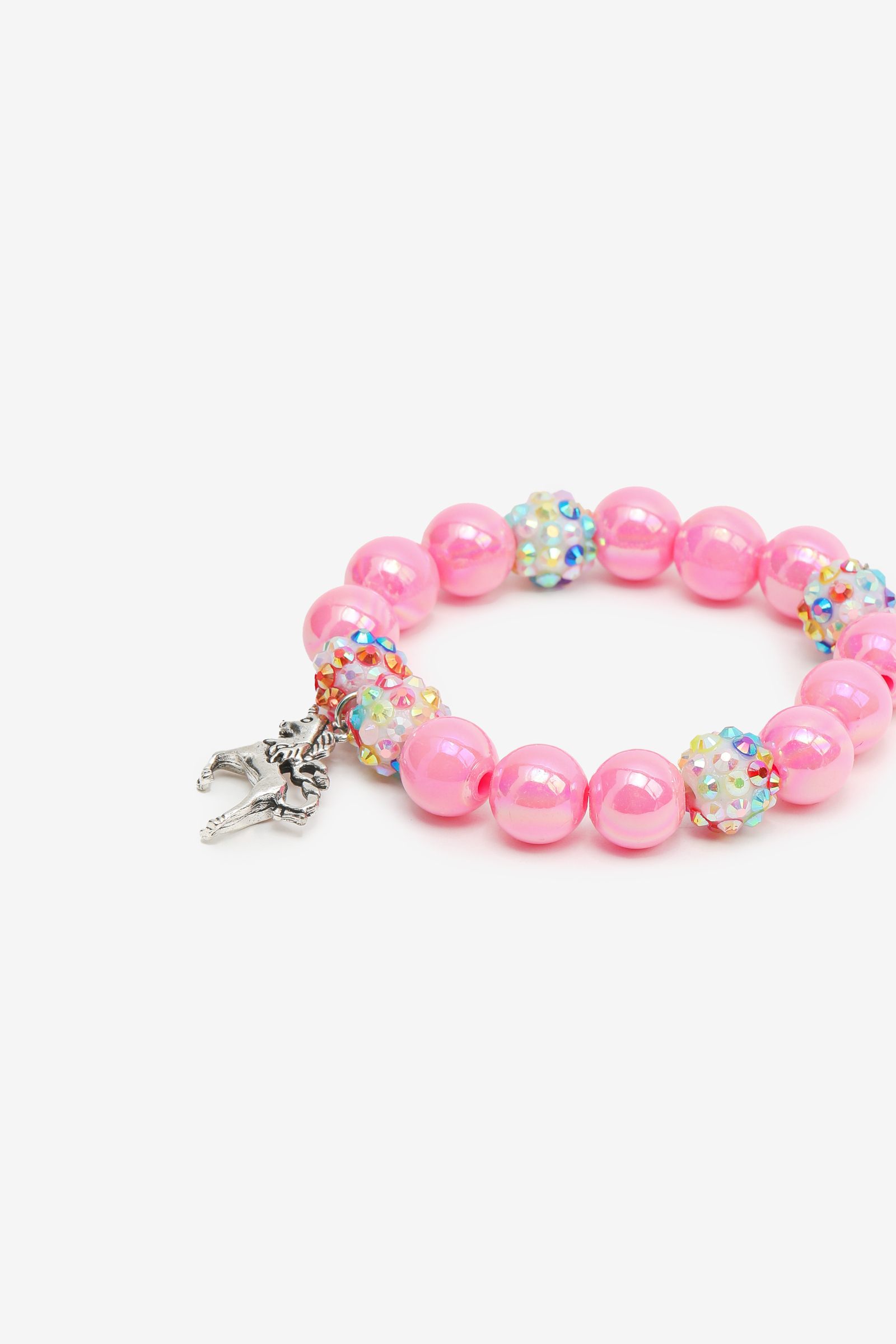 Beaded Bracelet with Unicorn Charm for Girls