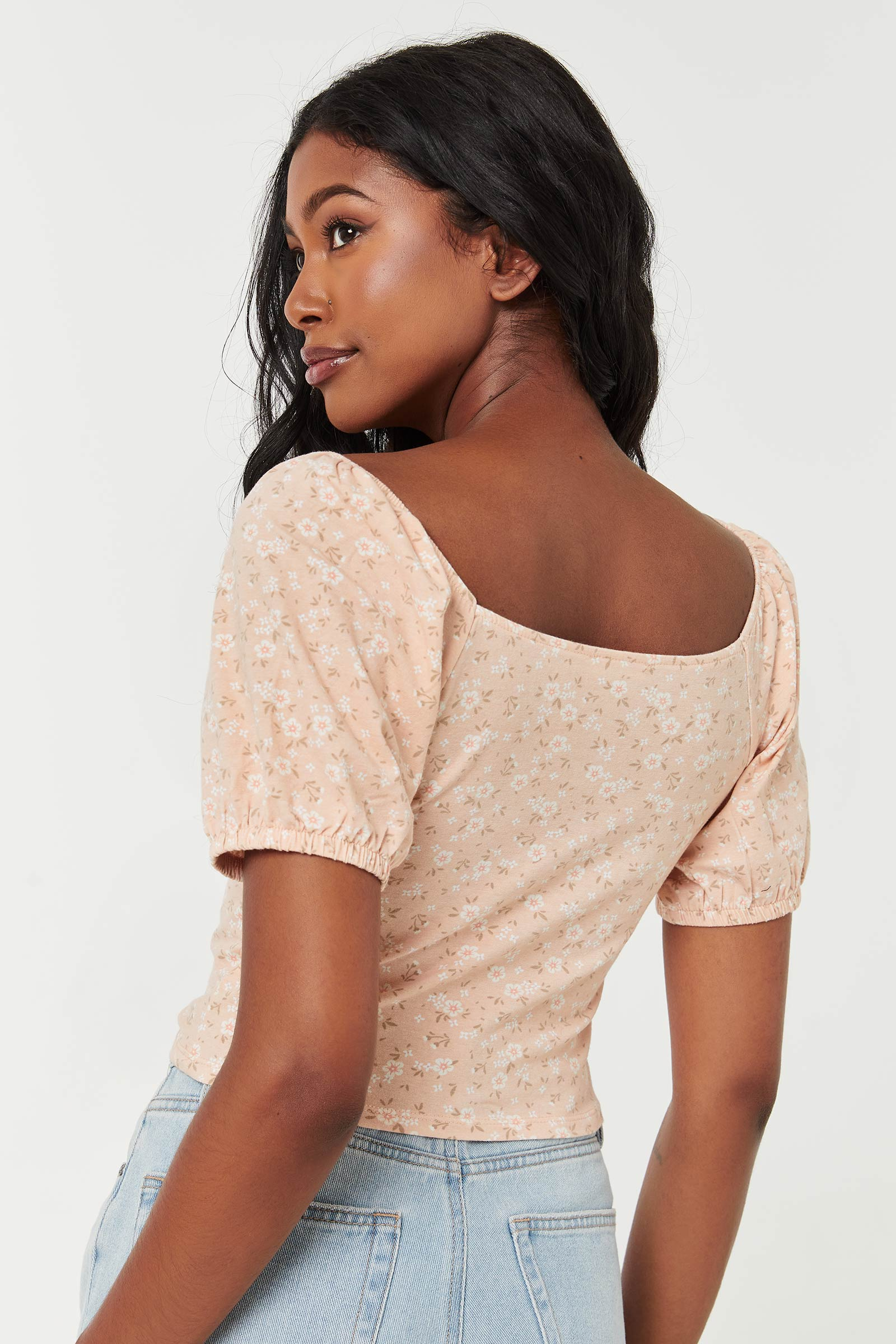 Ditsy Floral Ultra-Cropped Bustier Top