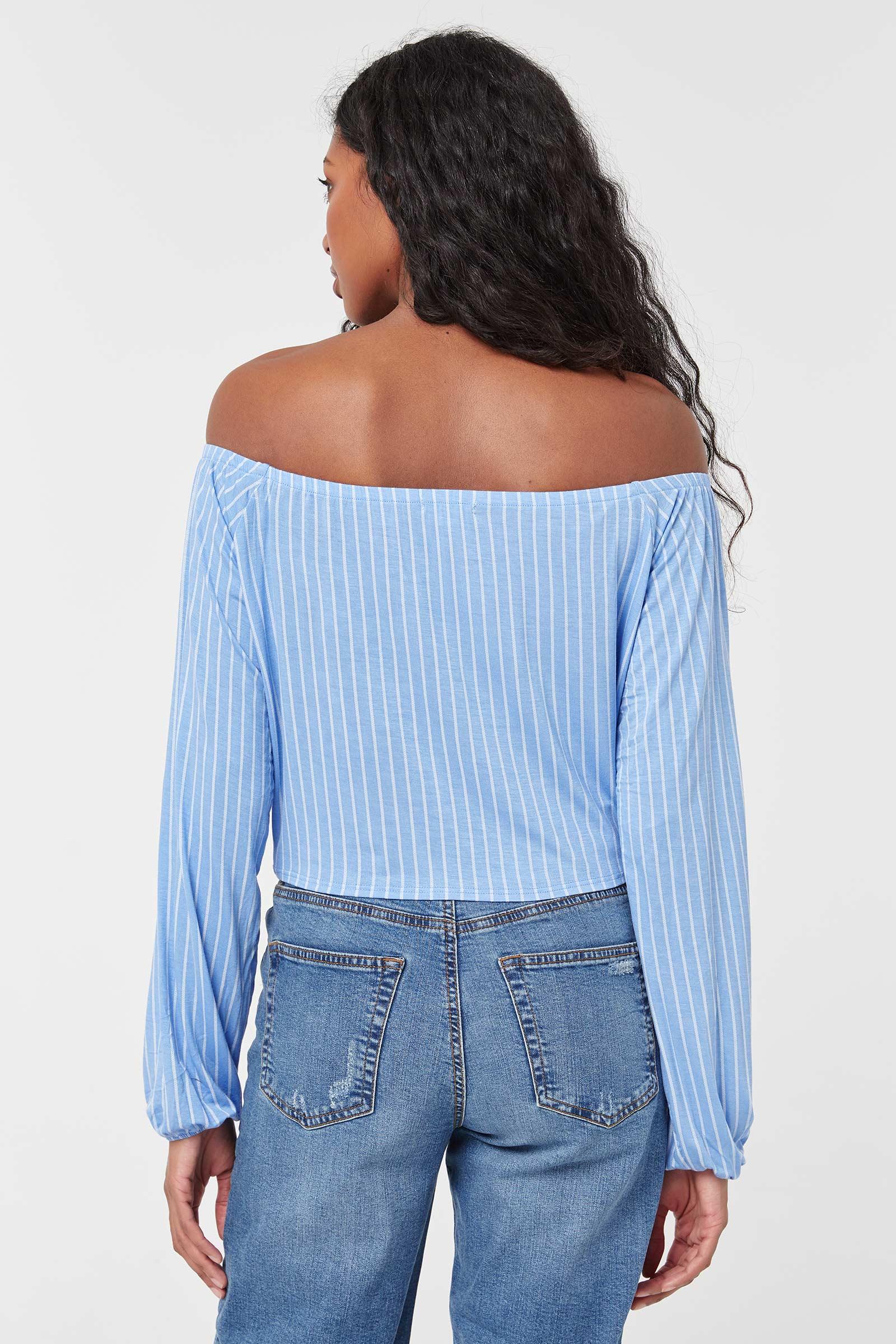 Off Shoulder Long-sleeved Striped Top
