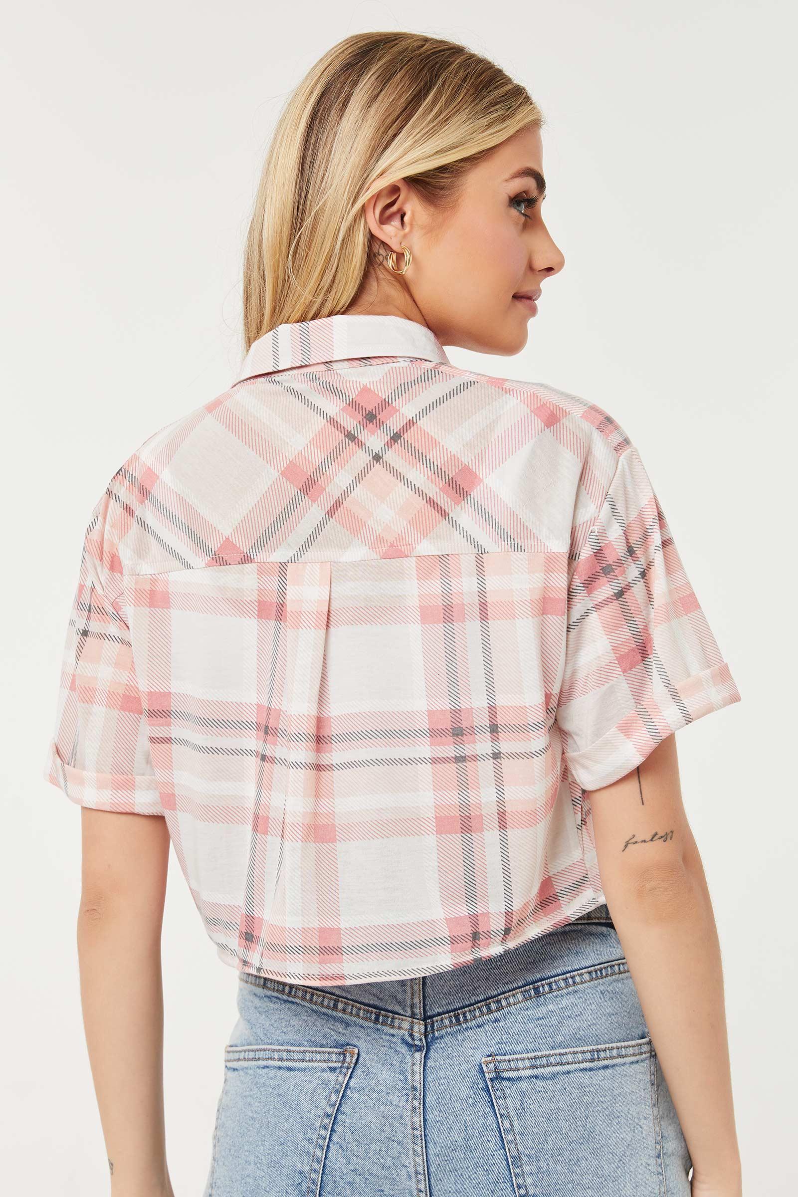 Boxy Crop Plaid Shirt