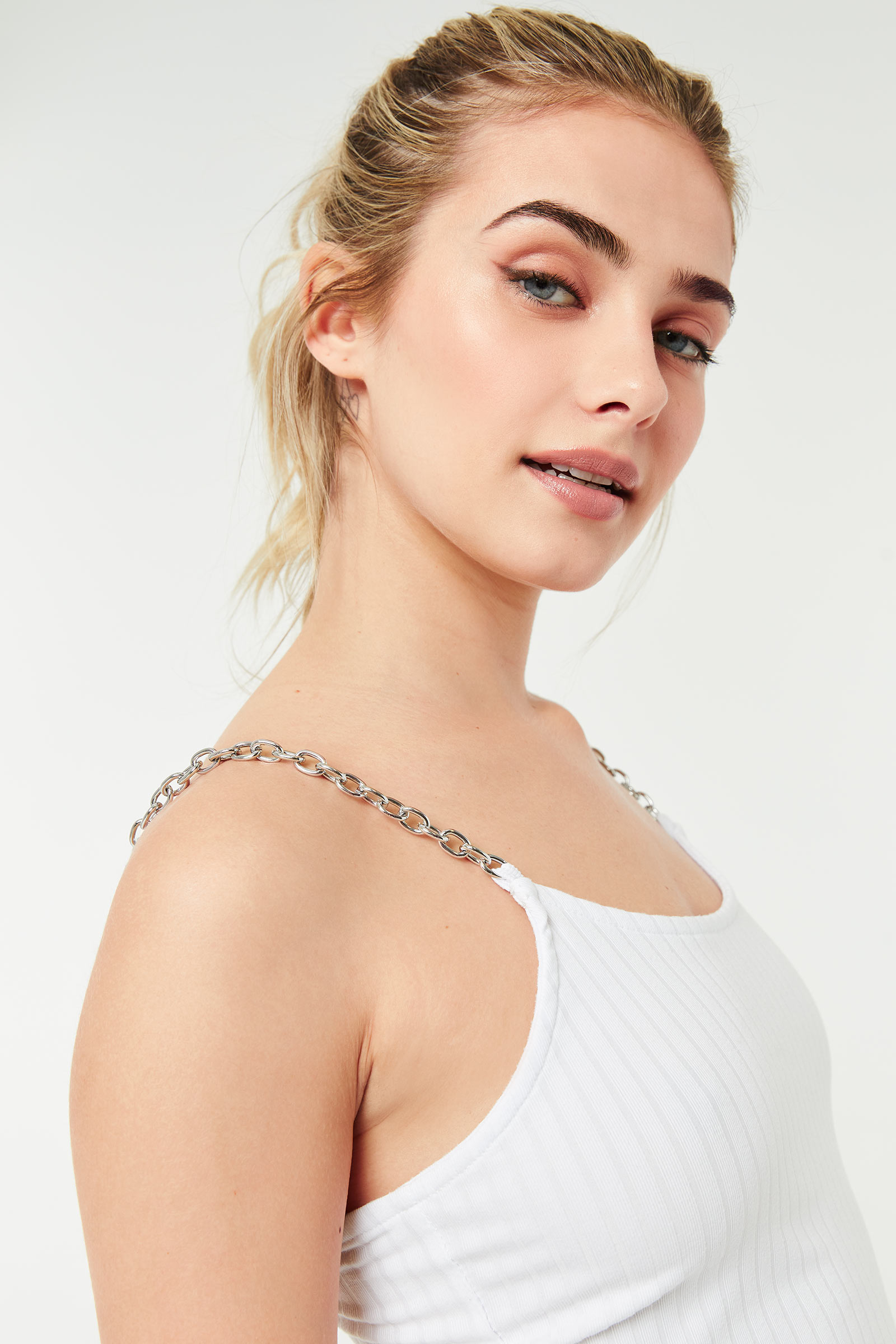 Crop Tank Top with Chain Straps