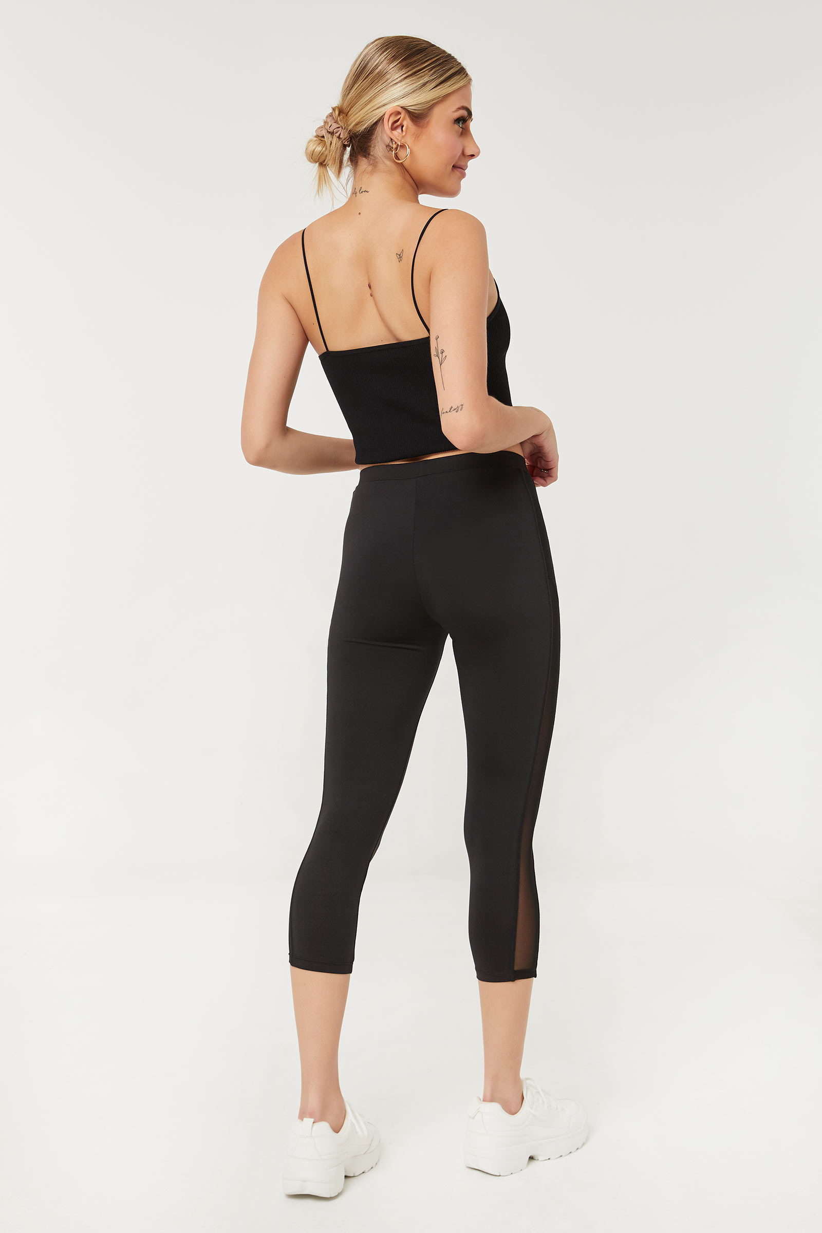 Crop Leggings with Mesh Inserts