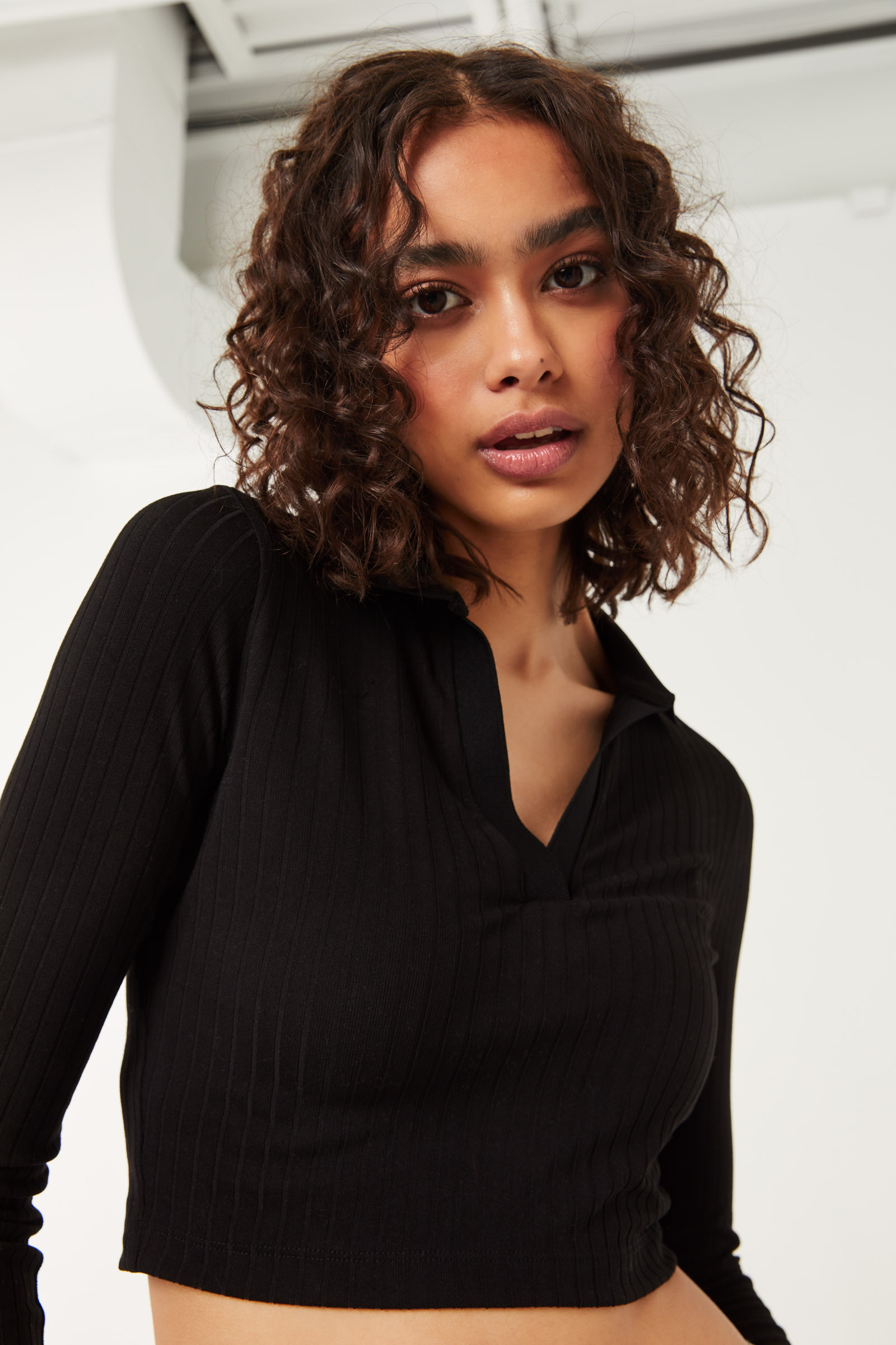 Super Soft Ribbed Polo Top