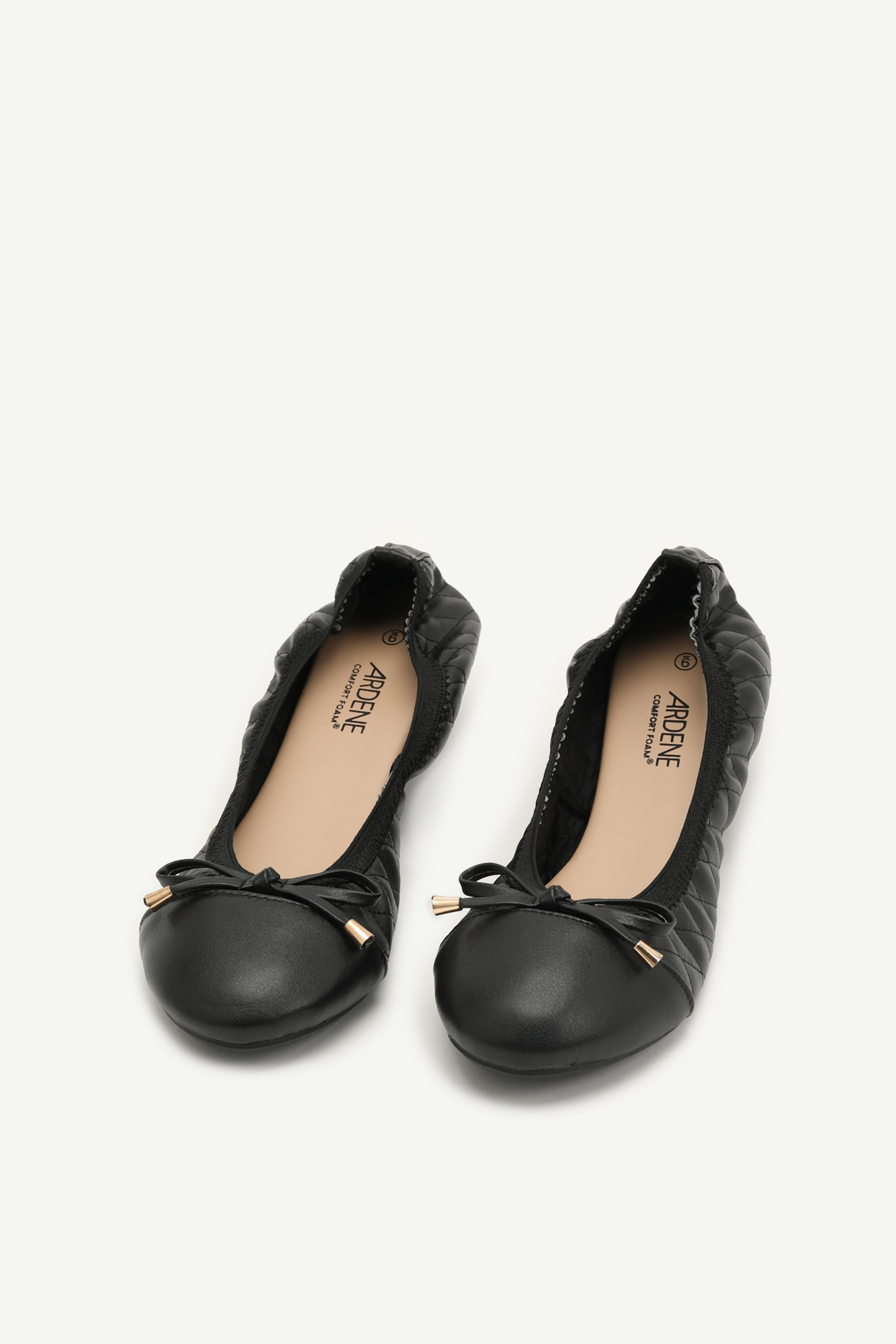 Ruched Faux Leather Ballet Flats