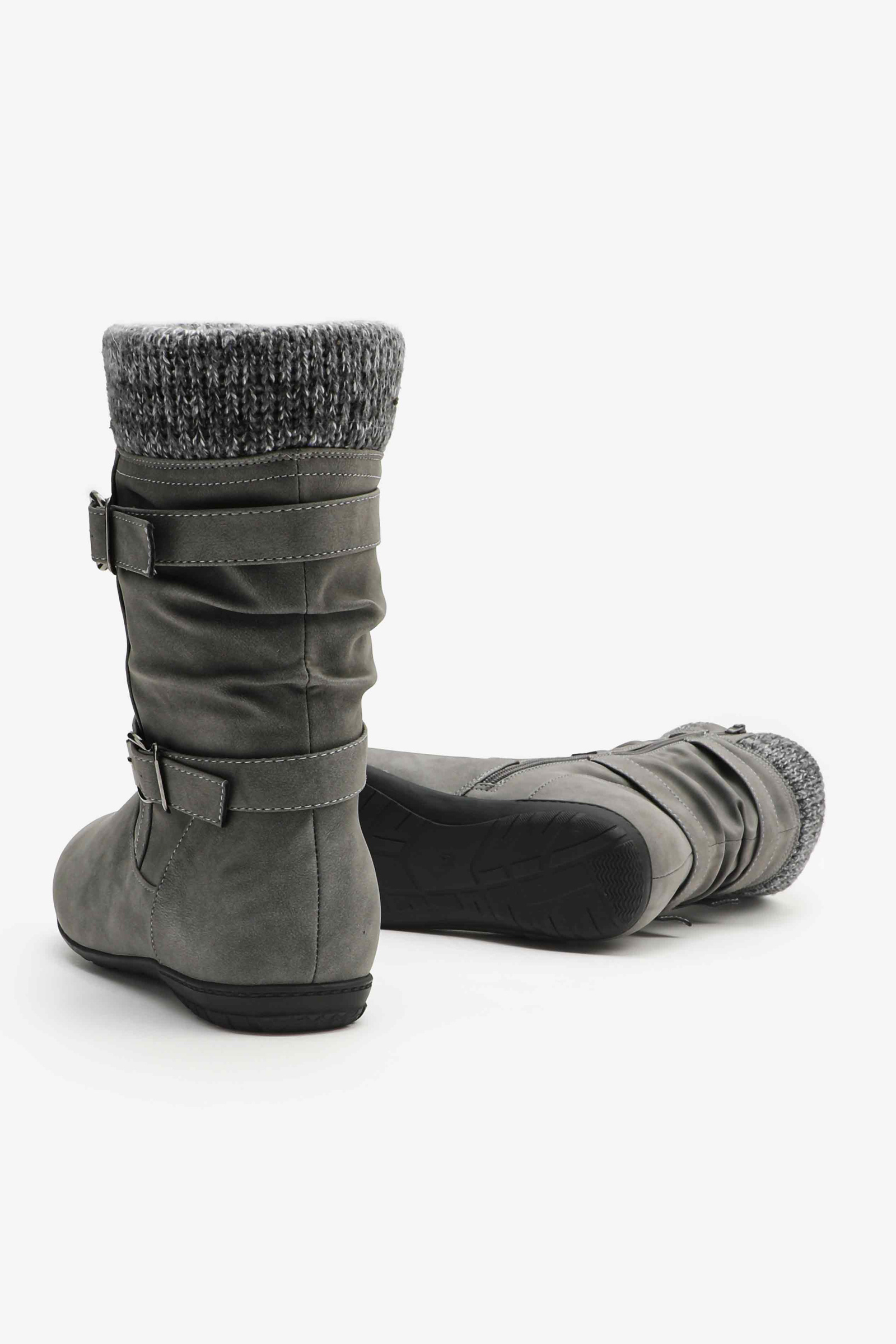 Mid-Calf Winterized Boots with Knit Collar
