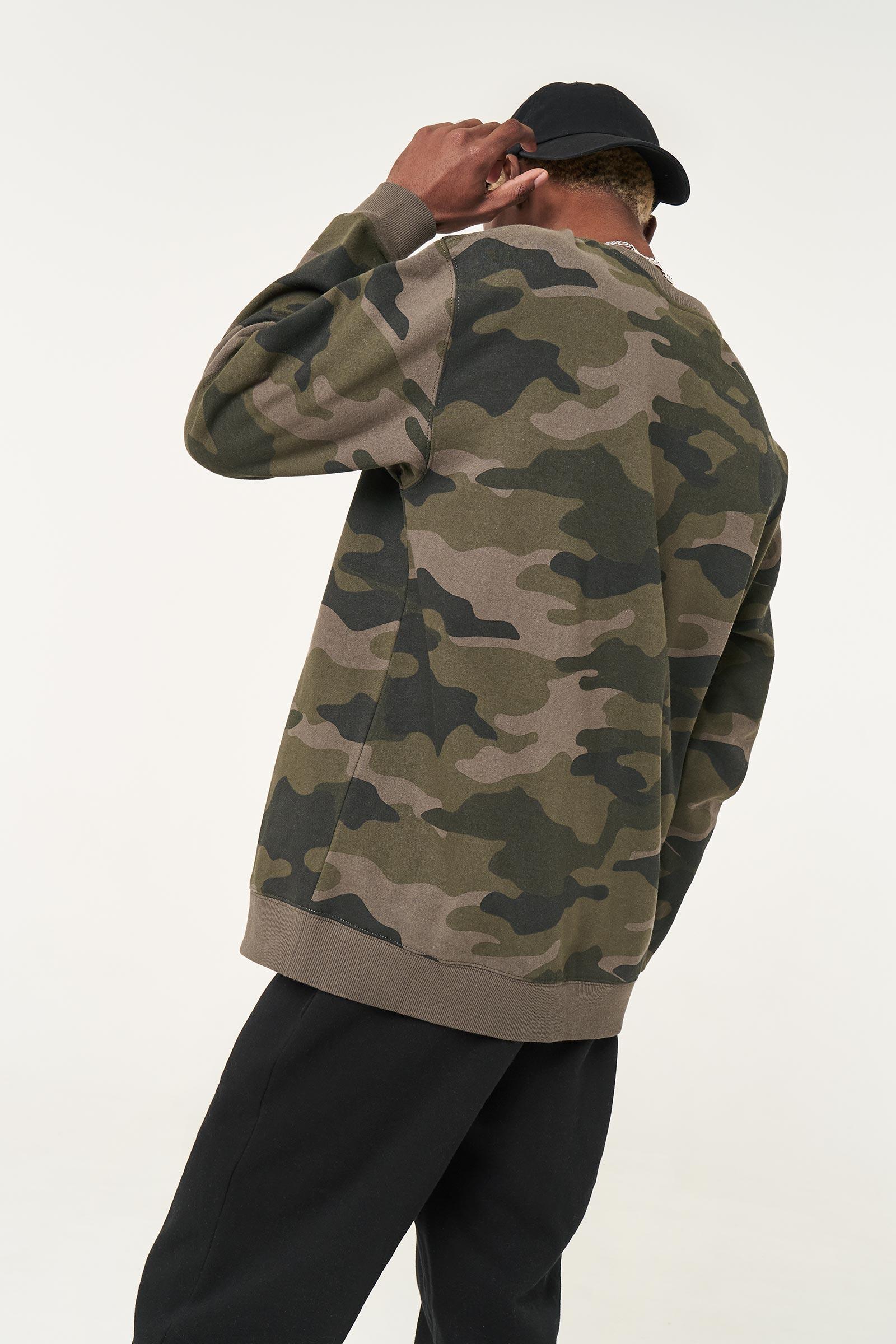 Crew Neck Camo Sweatshirt for Men