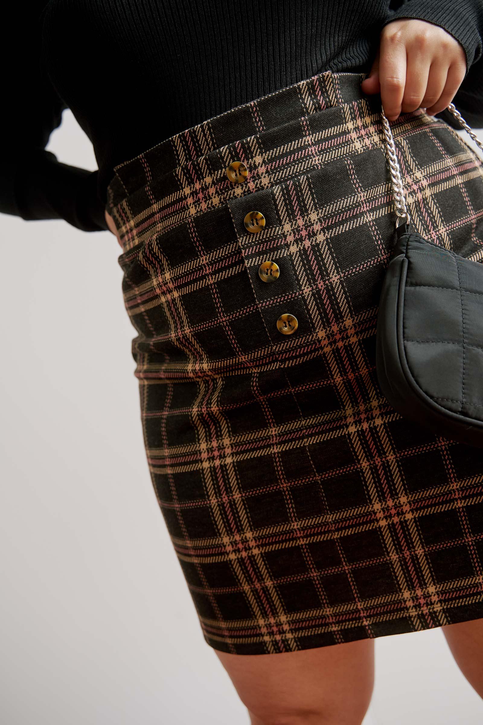 Plaid Paper Bag Skirt