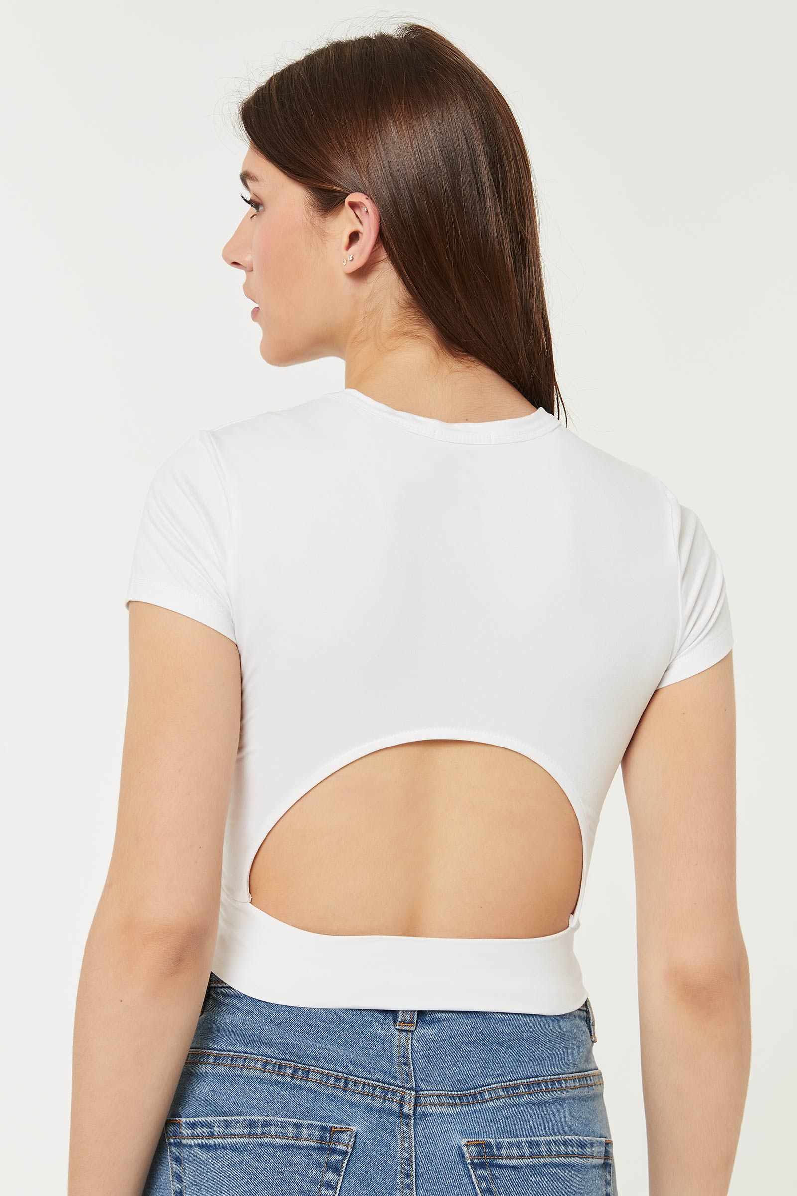 Cropped Tee with Cut Out Back