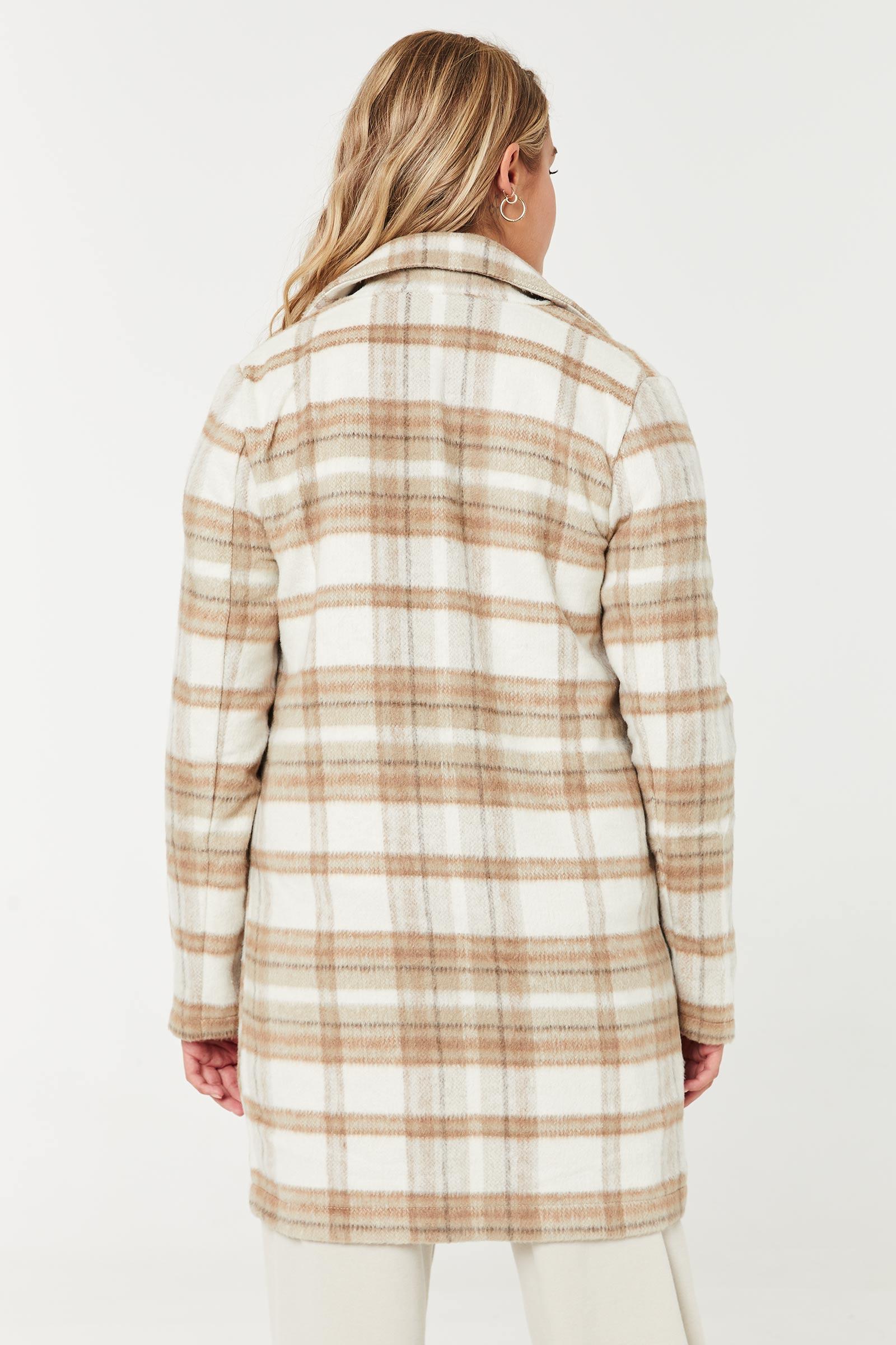 Cardi-veste ouvert à carreaux