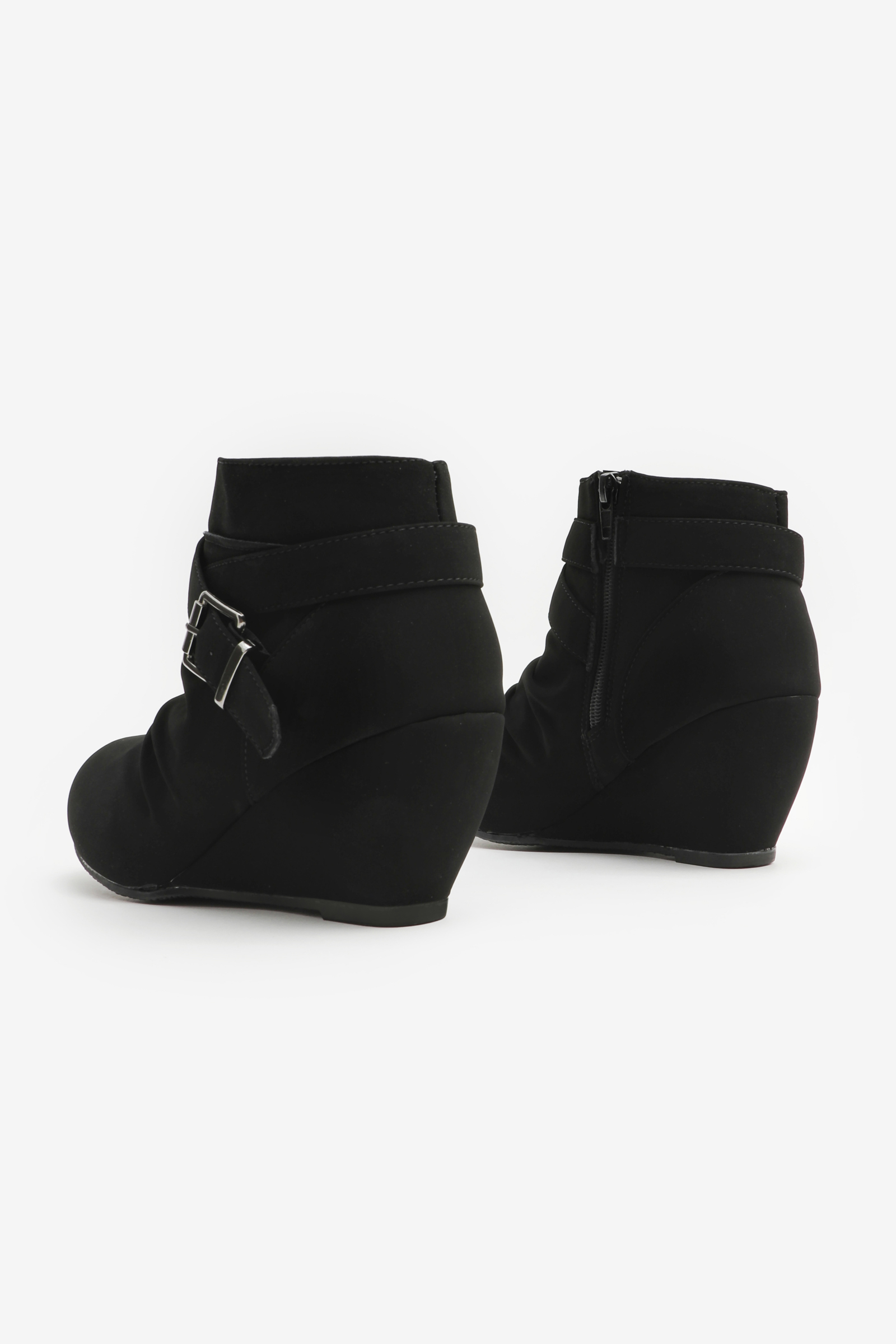 Buckled Wedge Ankle Boots