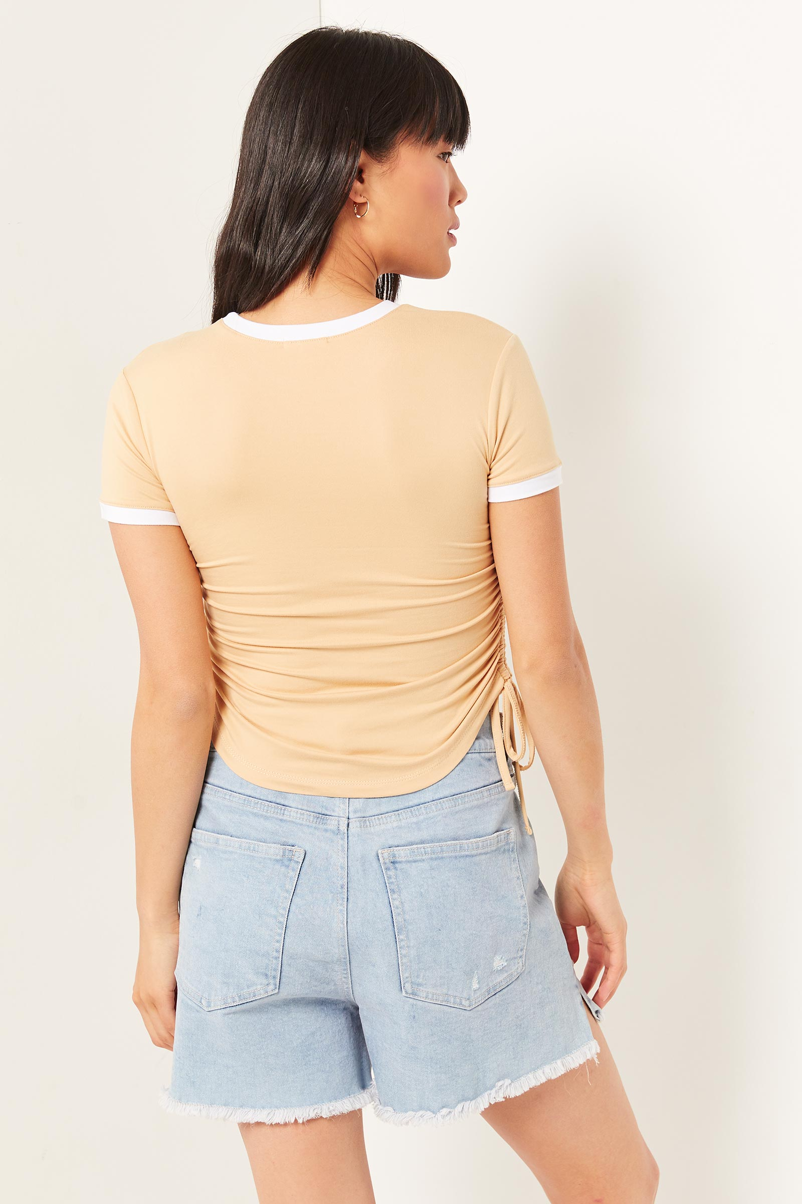 Butterfly T-shirt with Side Ruching