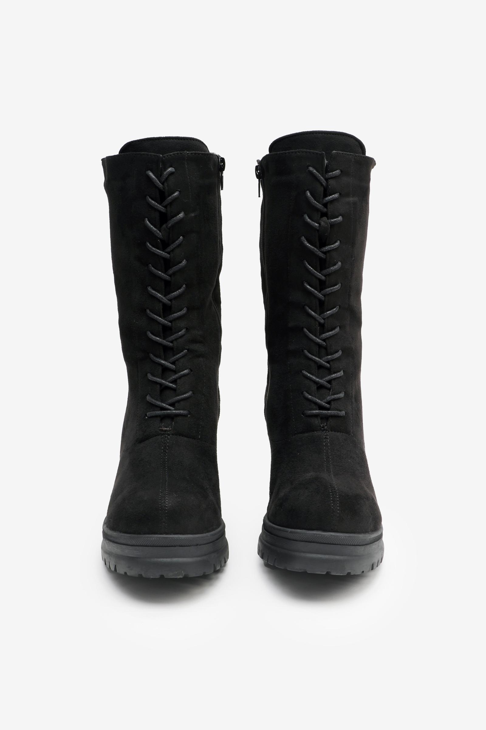 Track Heel Mid-Calf Boots