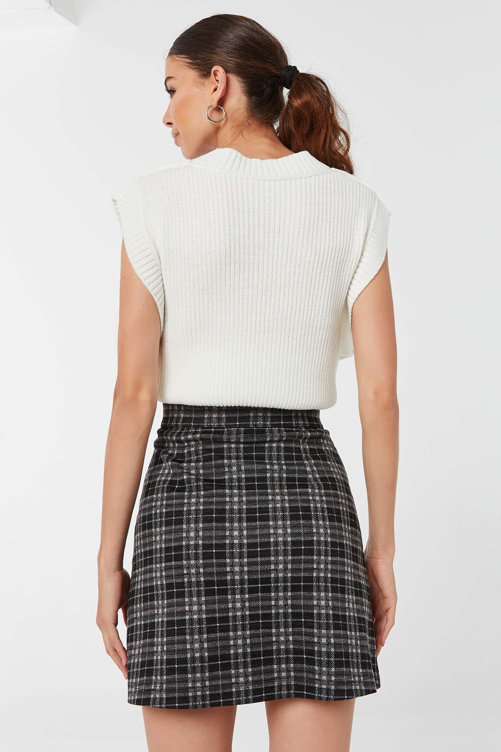 Front Zip Mini Jacquard Skirt