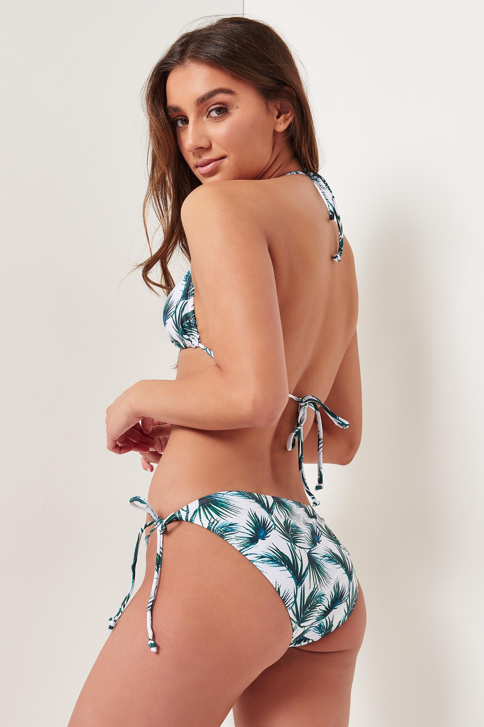 Bas de bikini tropical à attaches