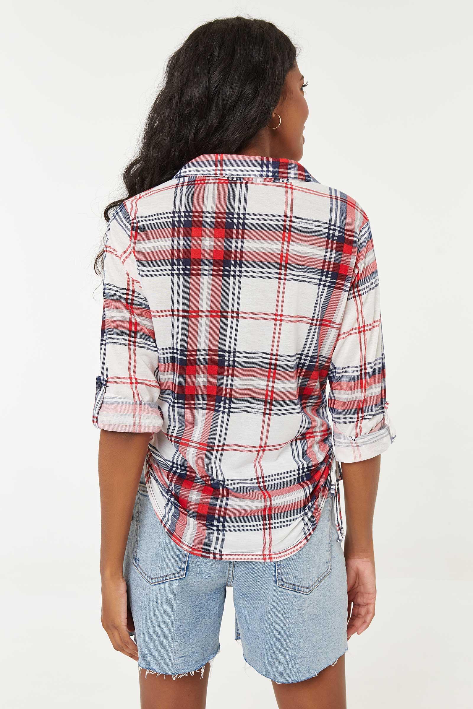 Plaid Side Ruched Shirt