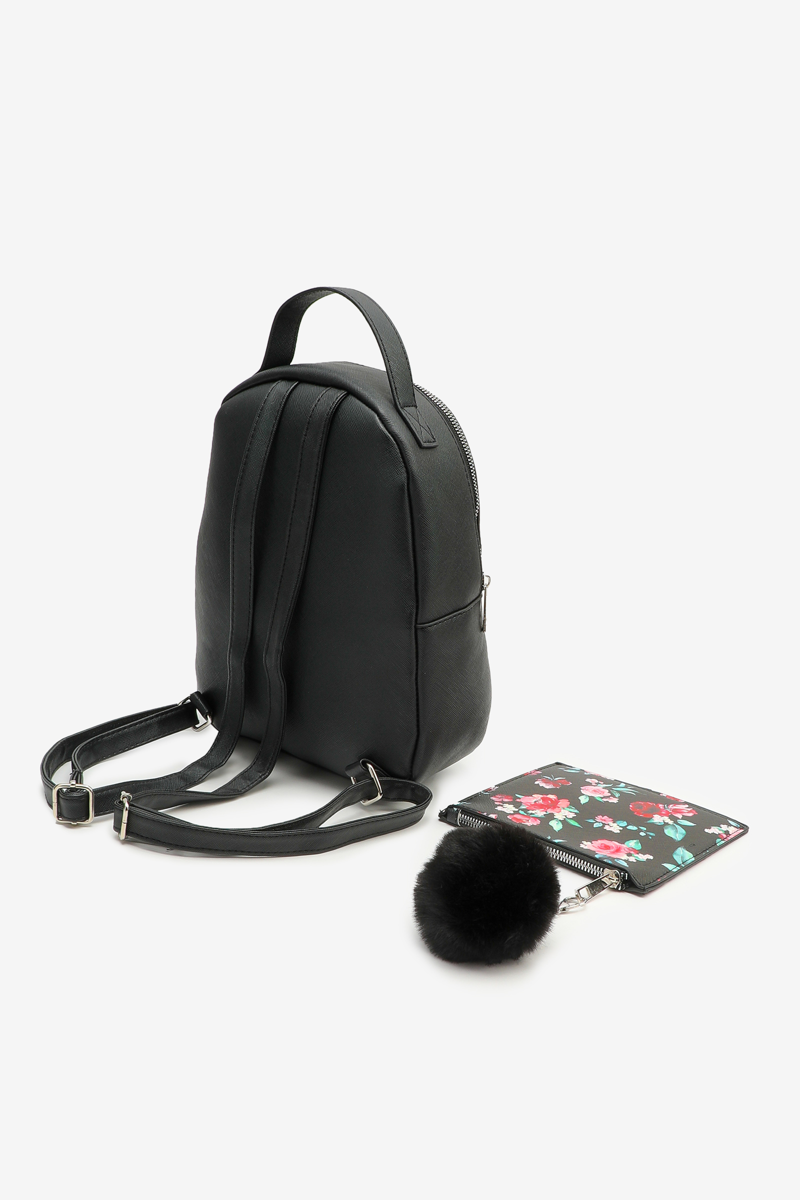 Faux Leather Backpack with Pouch