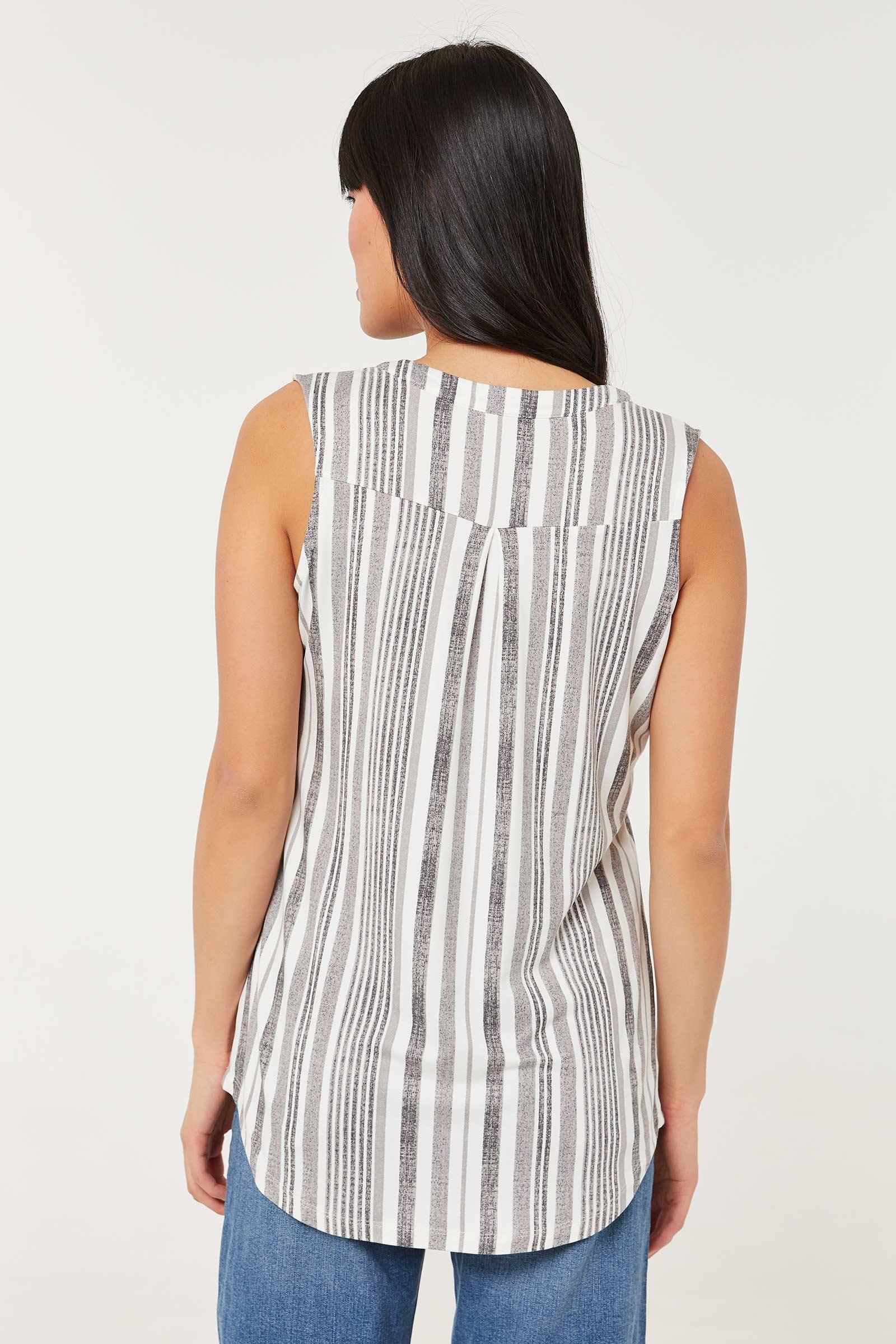 Sleeveless Striped V-neck Top