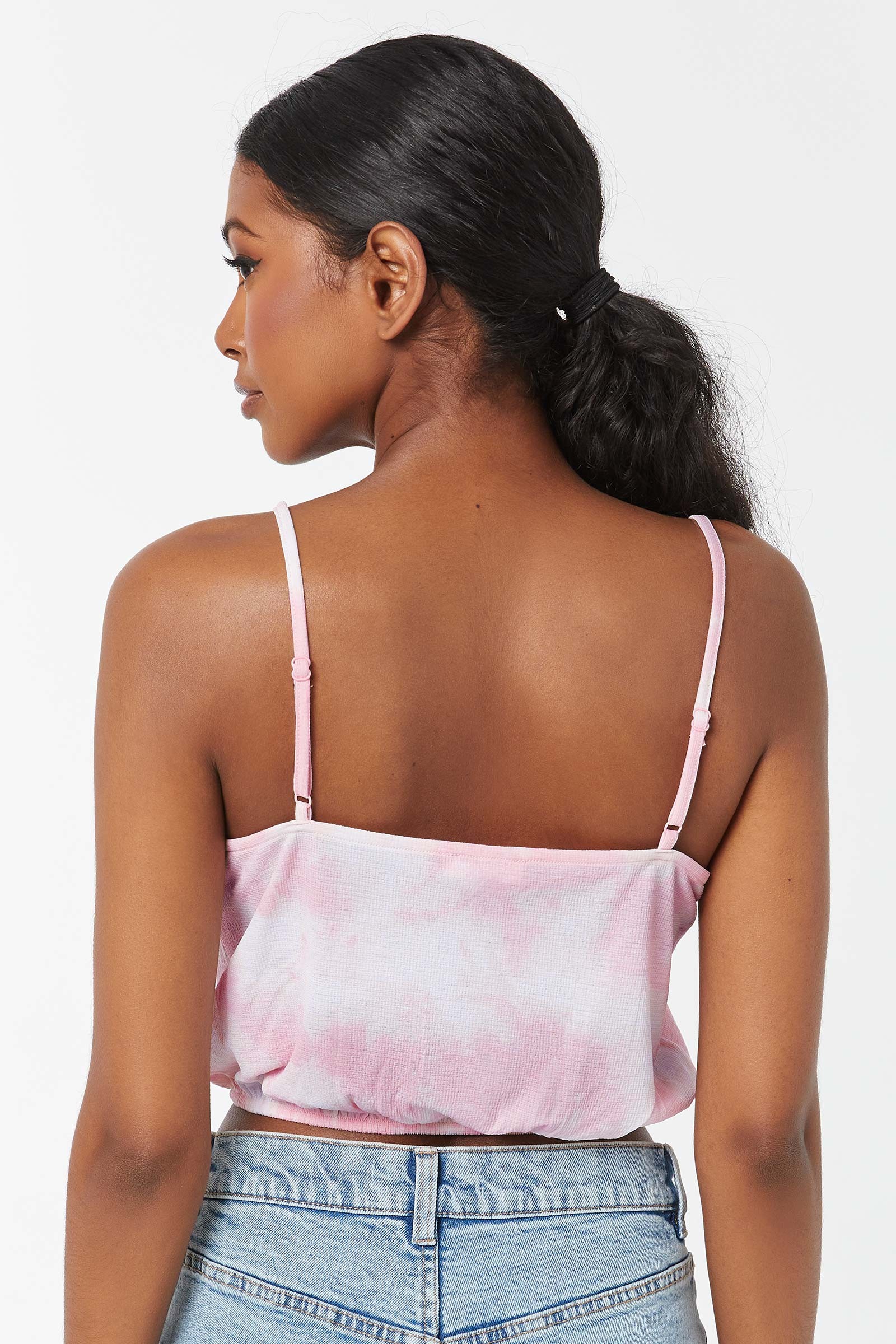 Tie-Dye Button-down Crop Tank Top with Front Tie