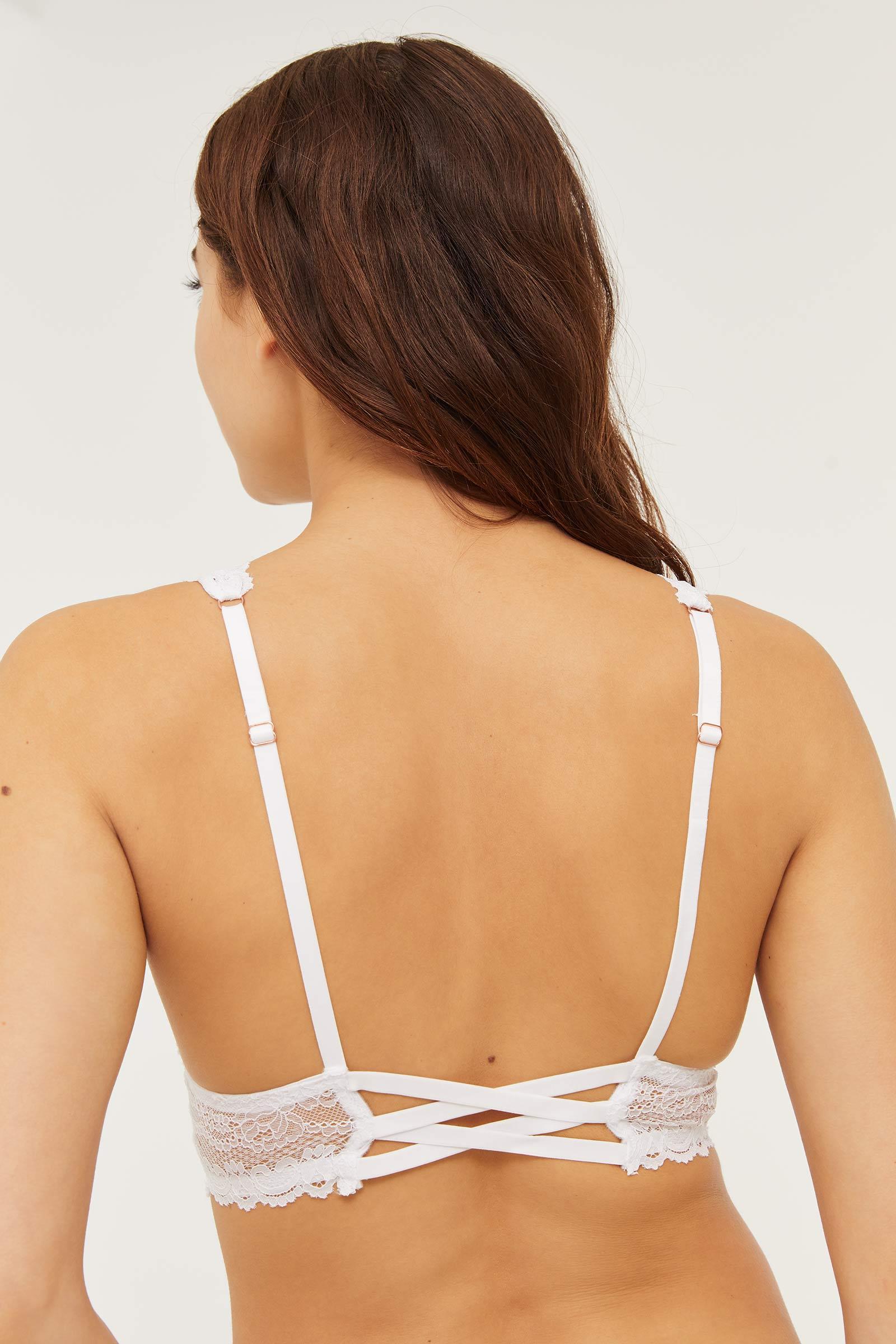 Bralette en dentelle avec bretelles croisées au dos