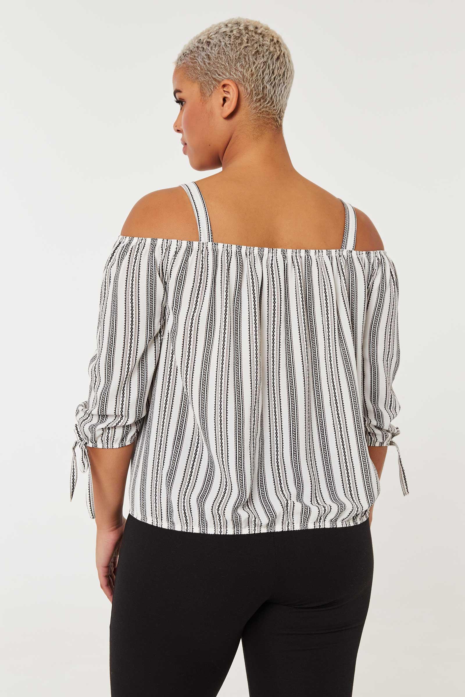 Plus Size Cold Shoulder Striped Top
