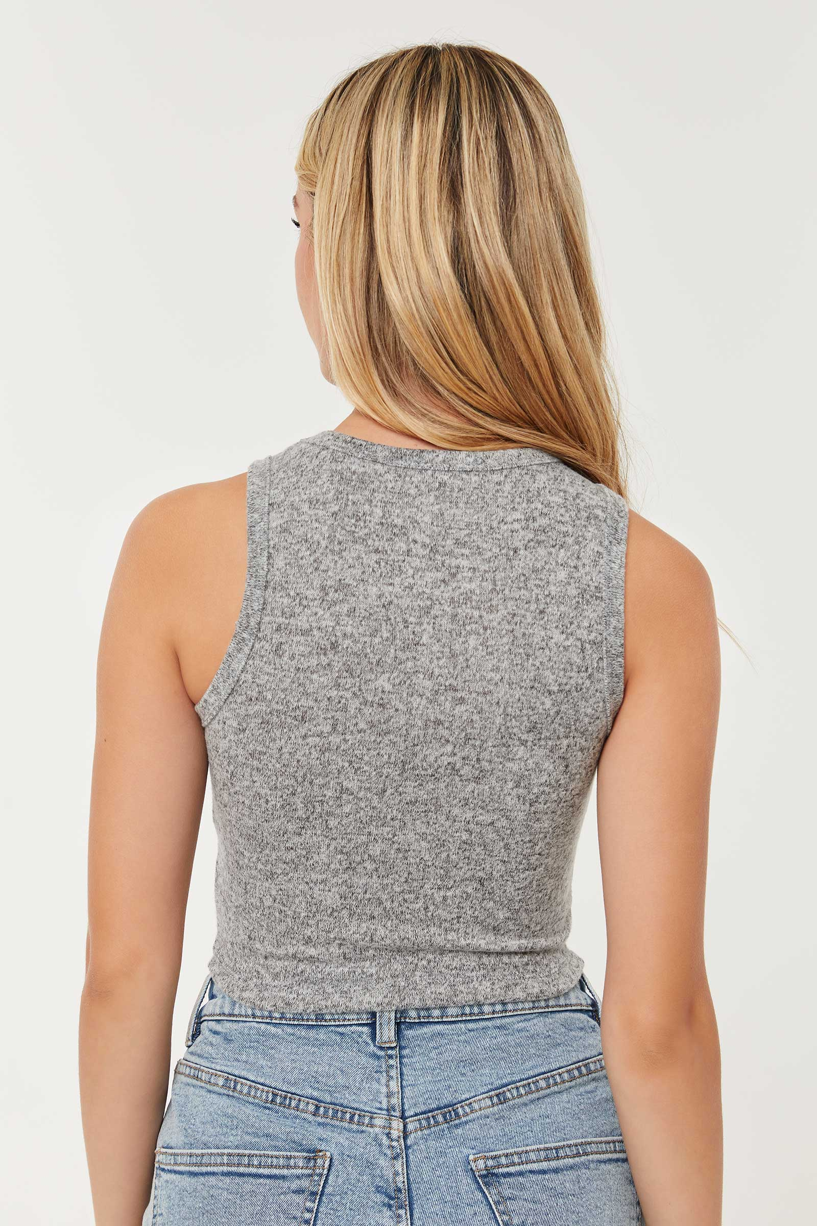 Brushed High Neck Tank Top