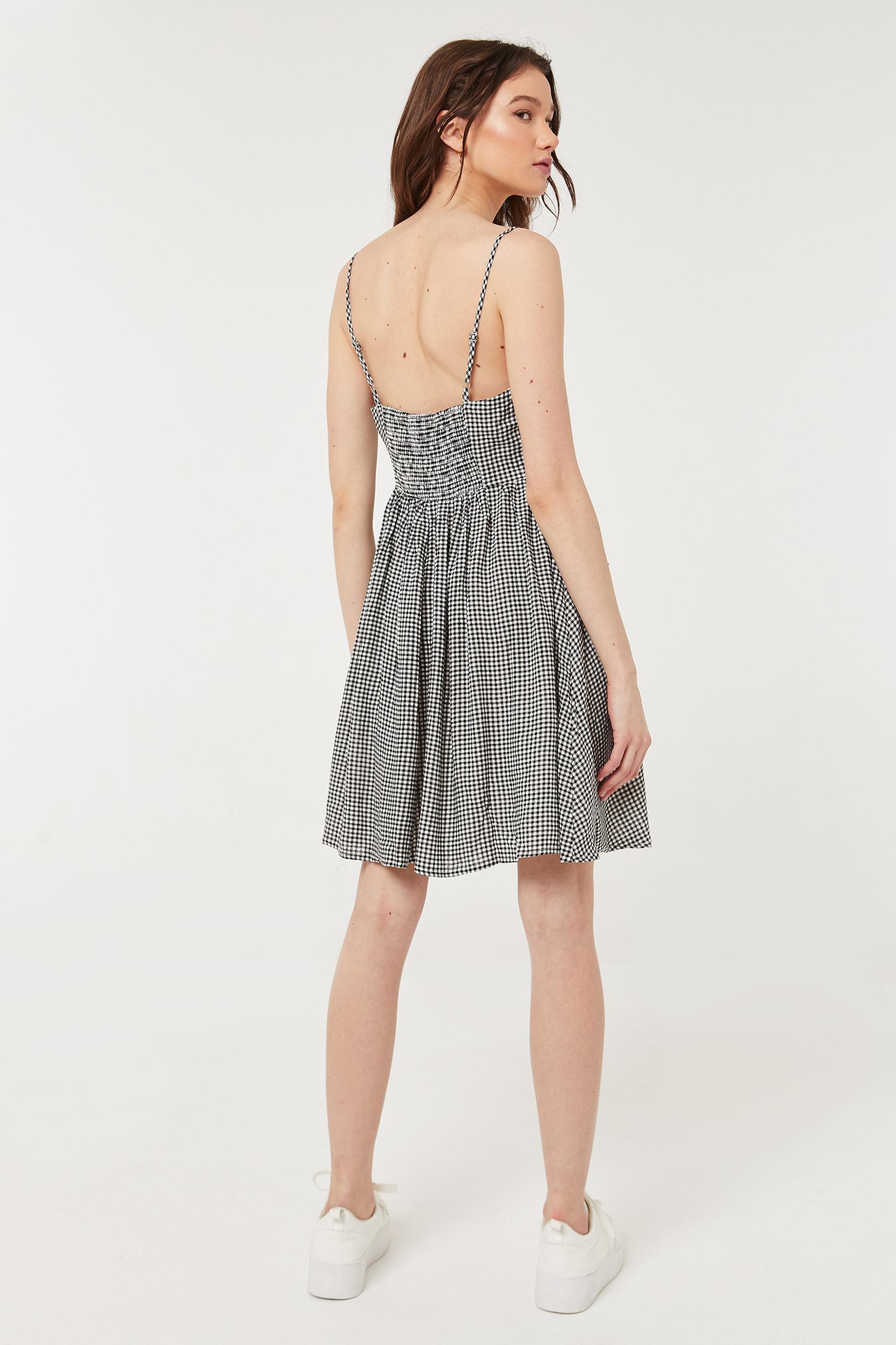 Gingham Sweetheart Laced Mini Dress