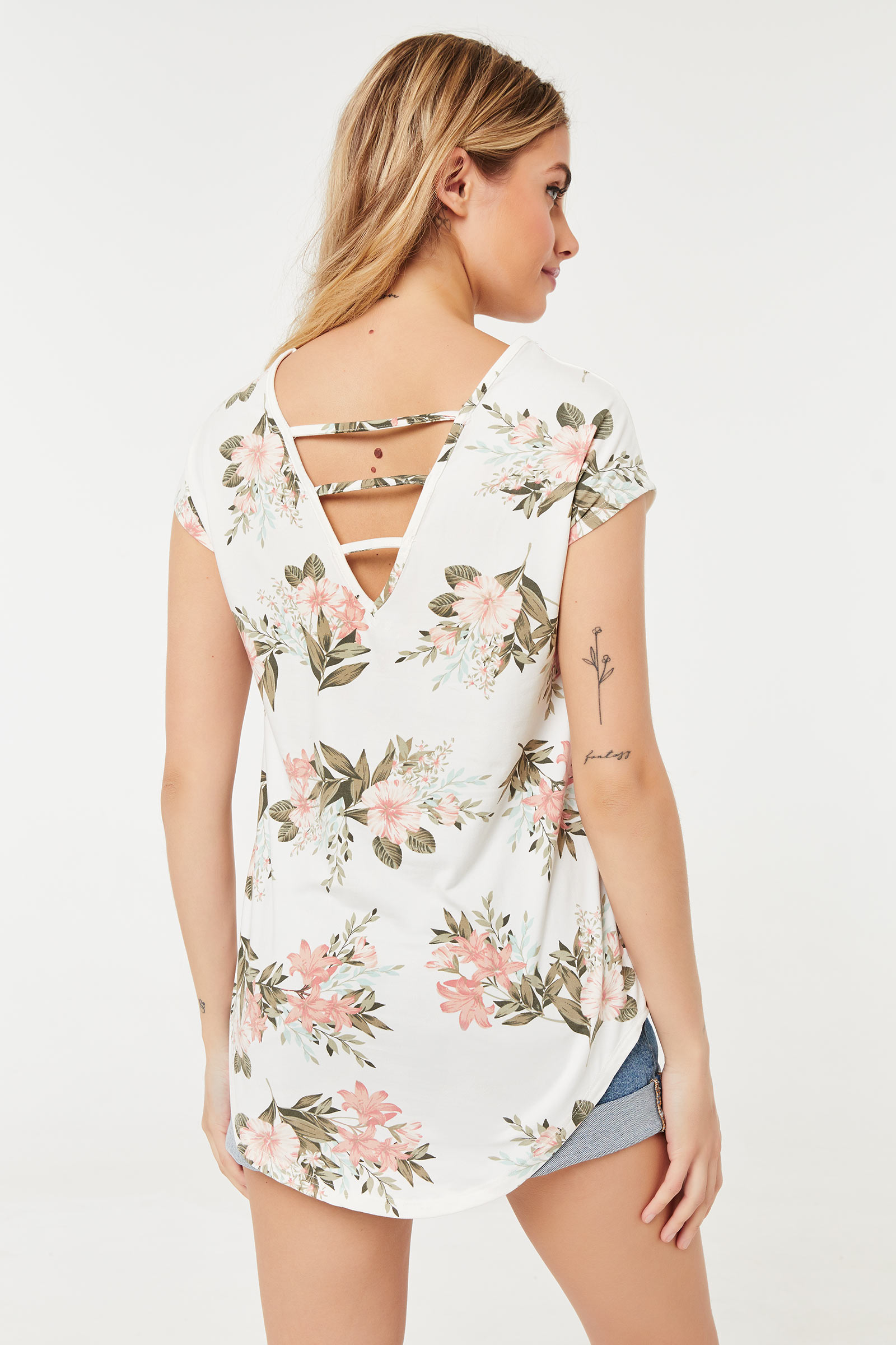 Cut Out V Back Tee