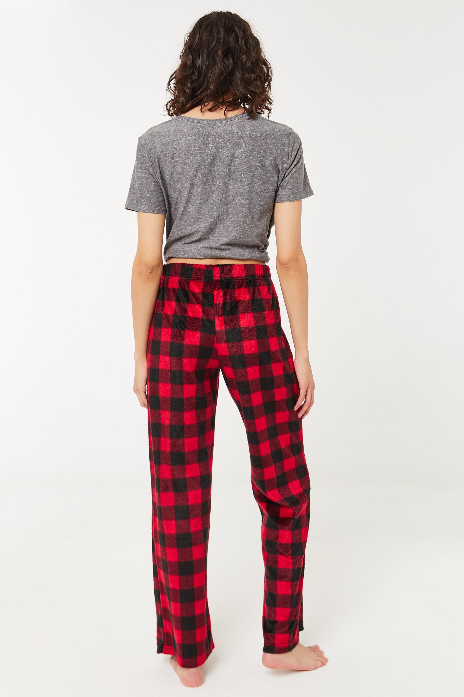 Bas de pyjama évasé à carreaux en minky