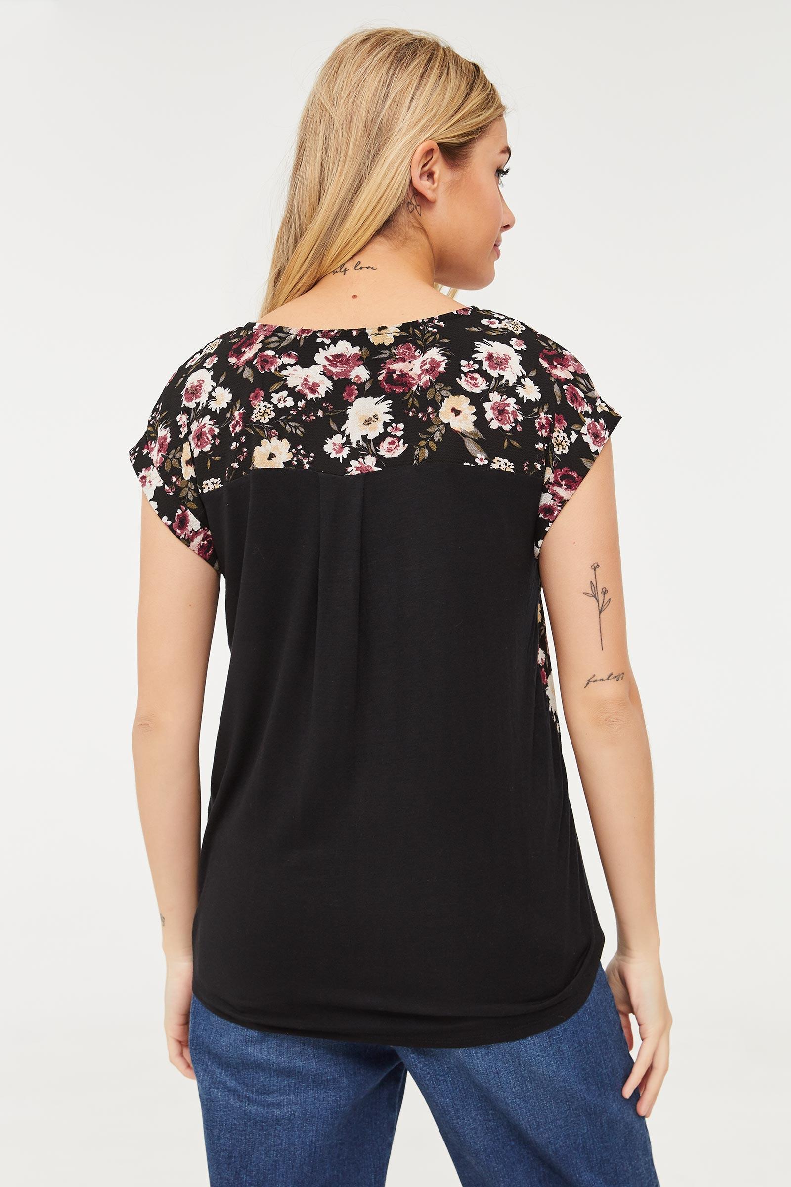 Floral Cap Sleeve Blouse