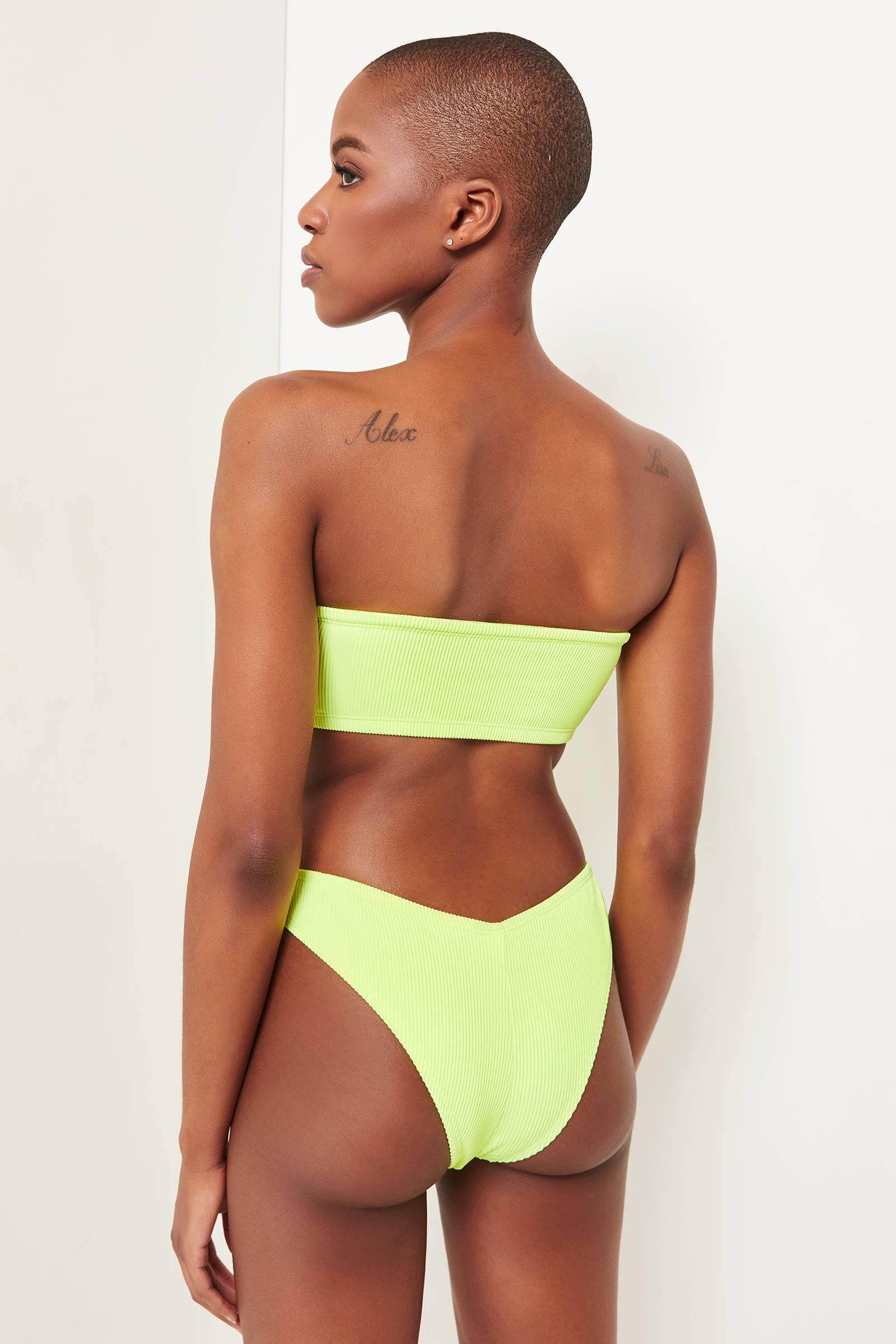 Neon High Leg Bare Bikini Bottom