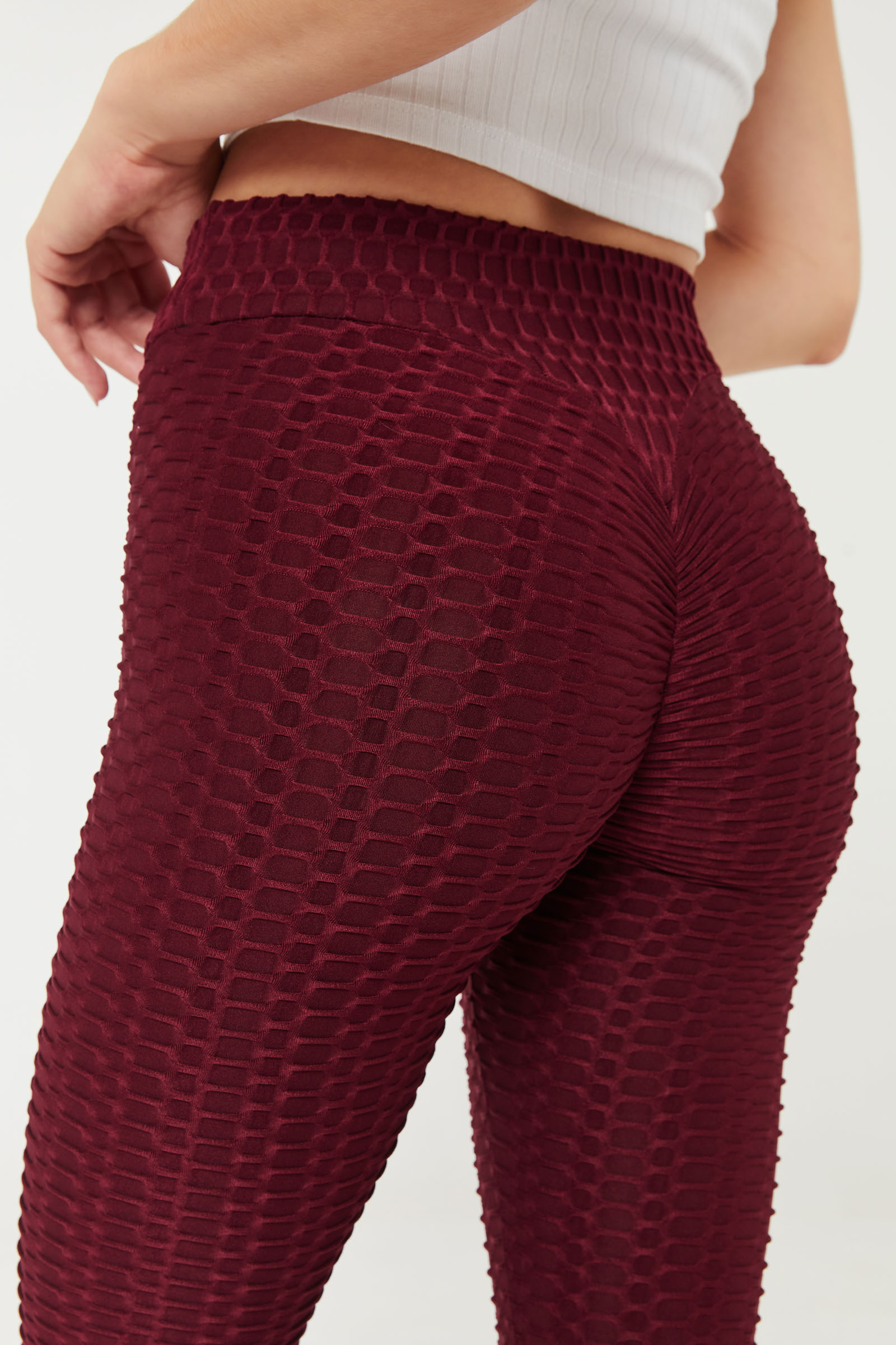 Honeycomb Leggings with Ruched Back