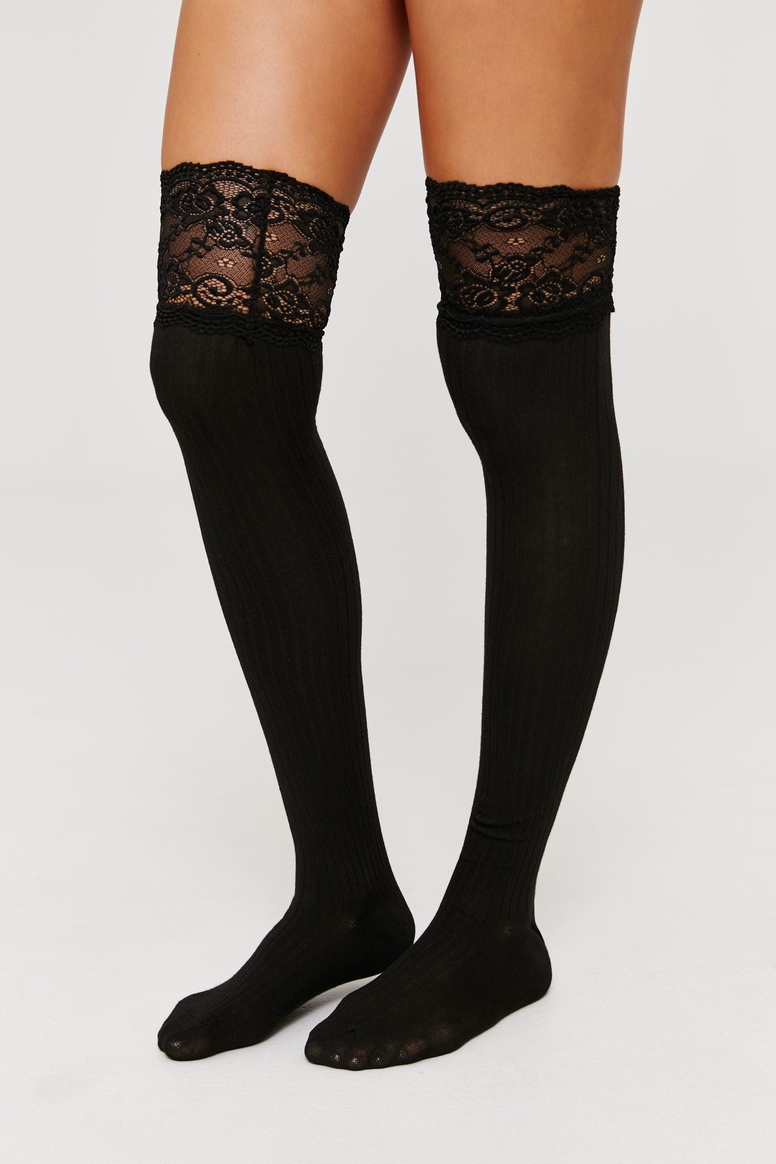 Over The Knee Socks with Lace Trim