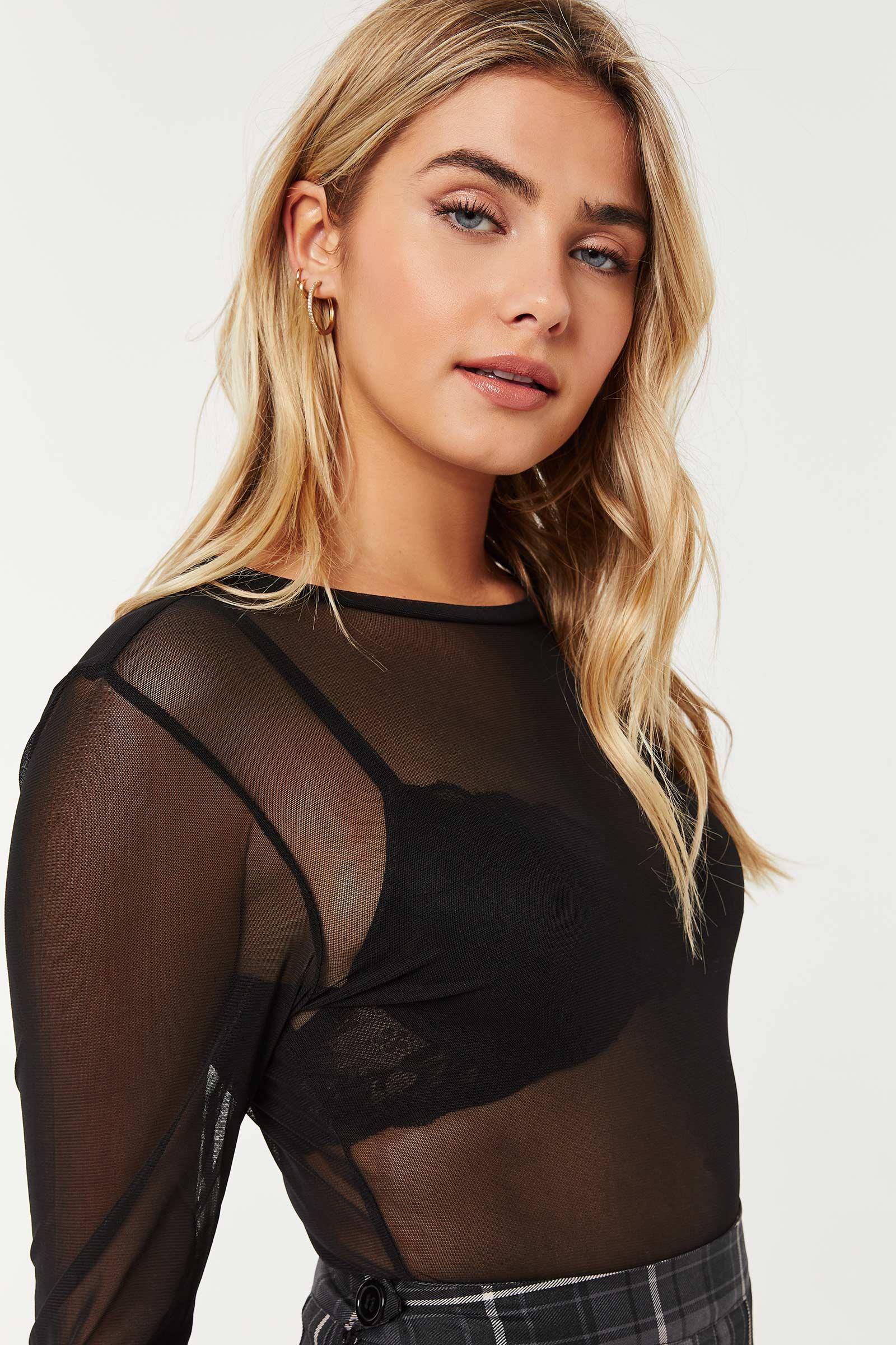 Long-Sleeved Mesh Top