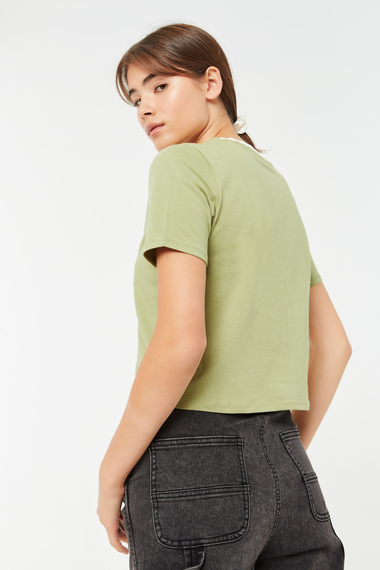 Choose Happy Cropped Ringer Tee