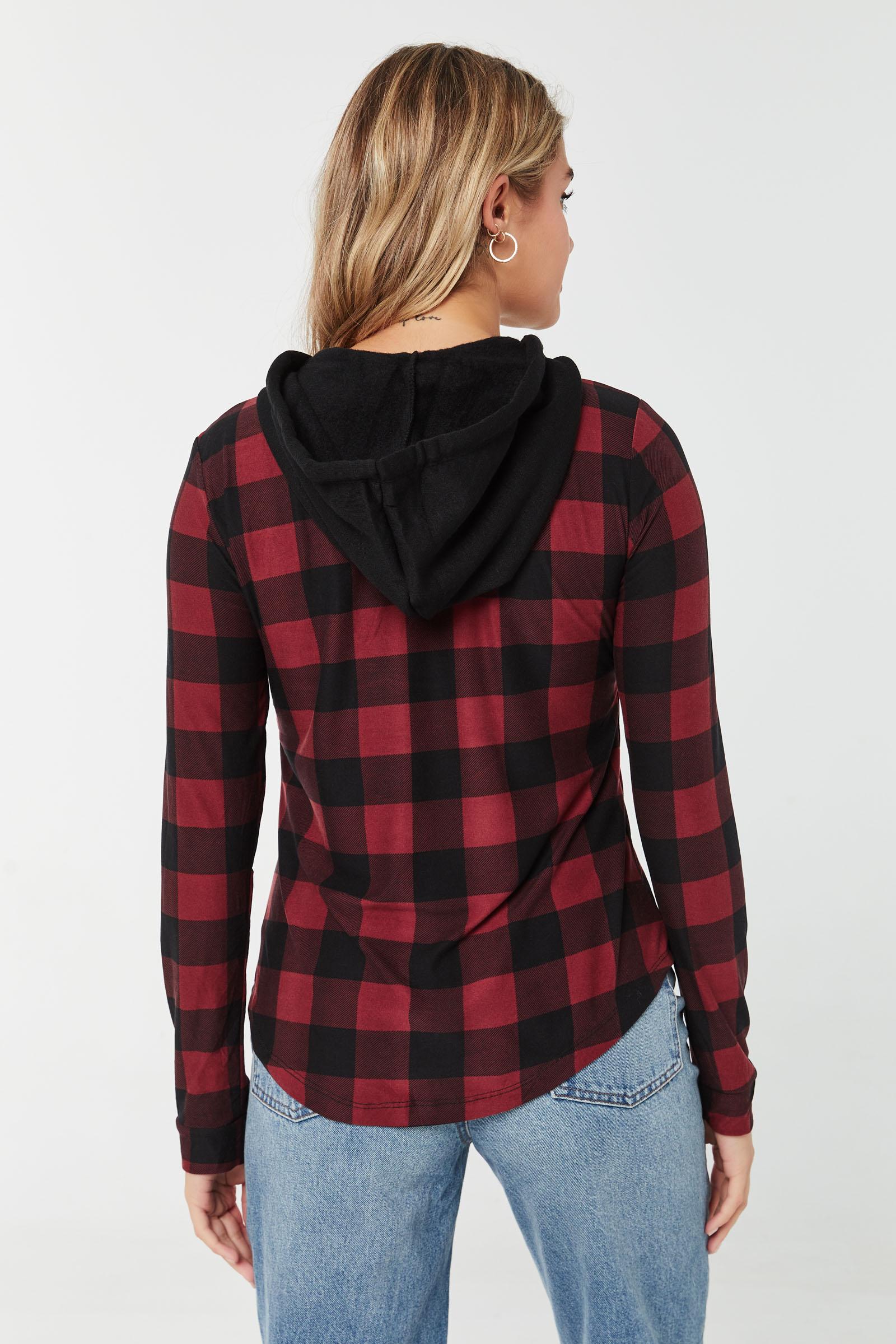 Long Plaid Shirt with Fleece Hood