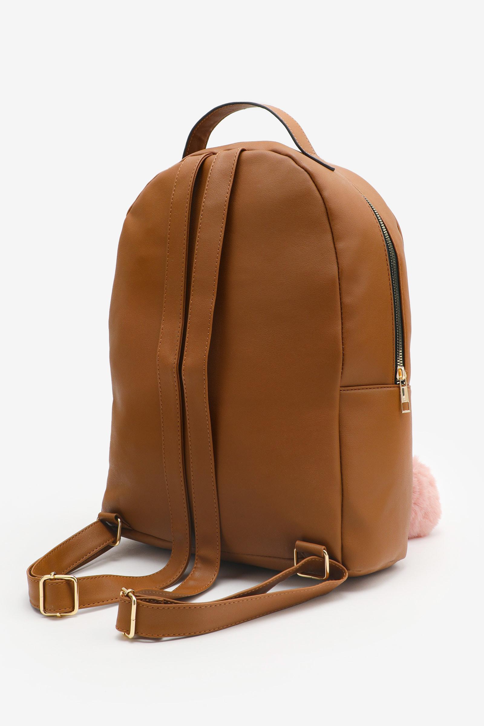 Floral Backpack with Pompom