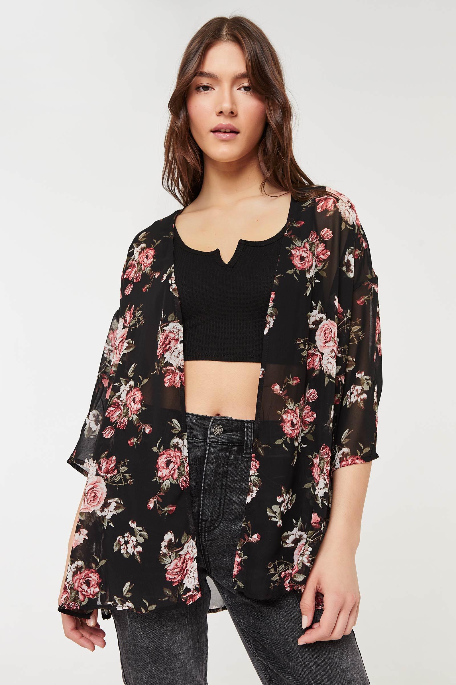 Kimono à imprimé fleuri